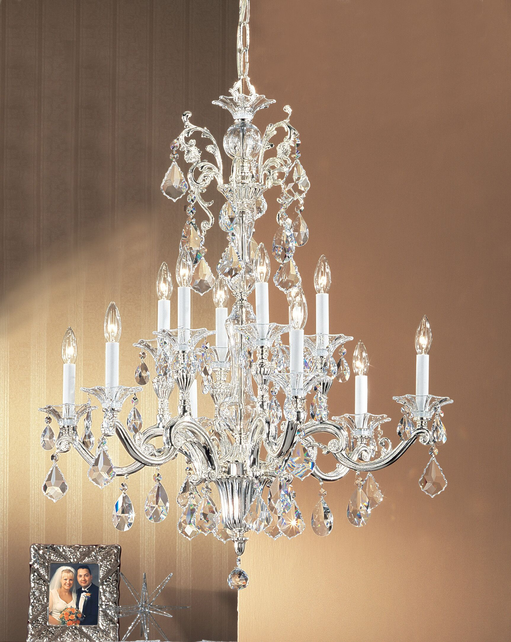 Via Firenze 12-Light Candle Style Chandelier Finish: Bronze with Black Patina, Crystal Type: Swarovski Elements
