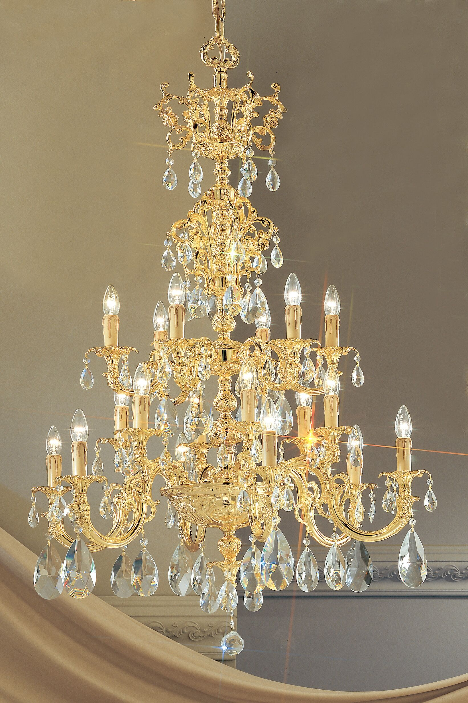 Princeton 18-Light Chandelier Finish: 24K Gold Plate, Crystal Type: Without Crystal