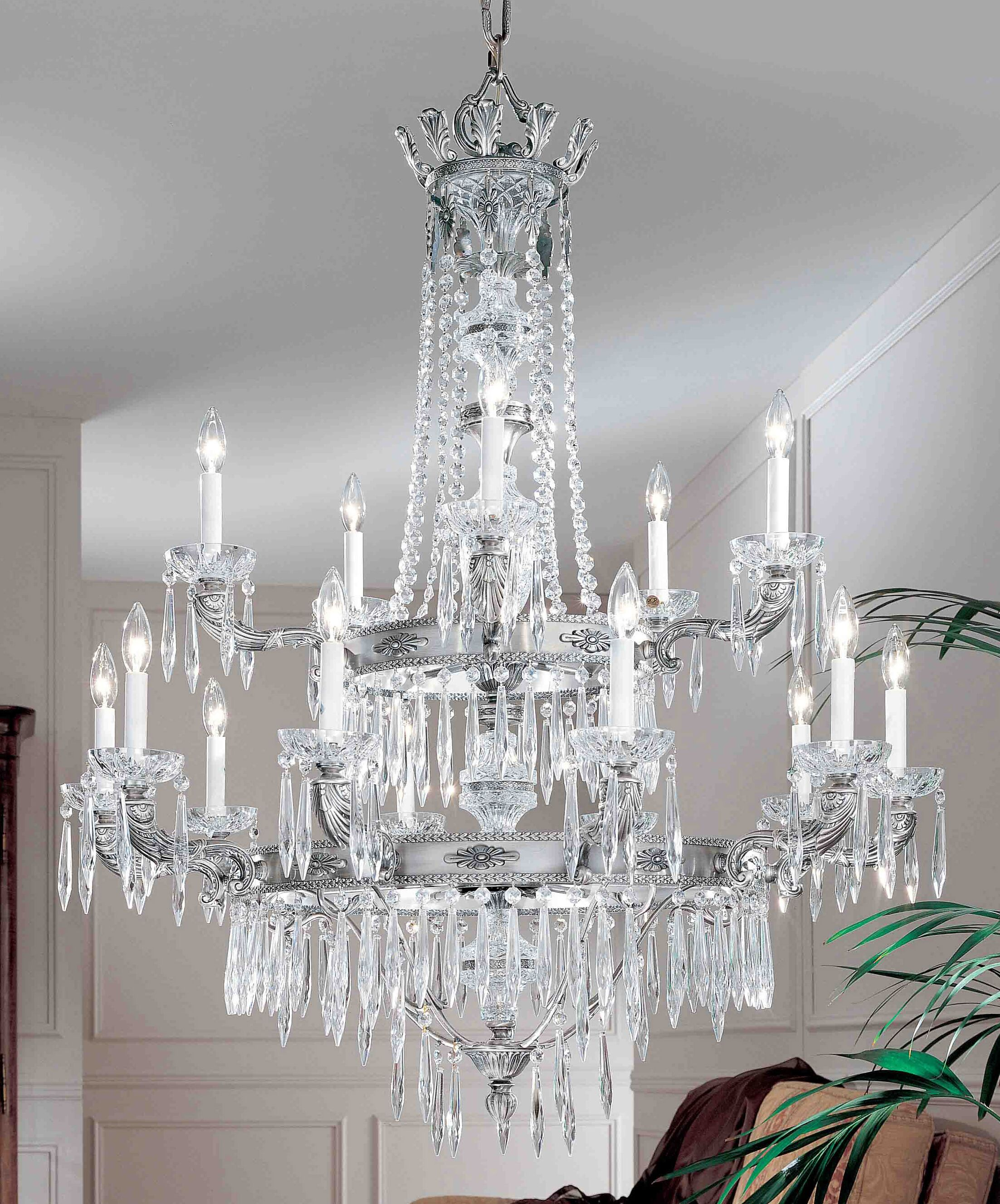 Duchess 15-Light Candle Style Chandelier Crystal Type: Italian, Finish: Millenium Silver