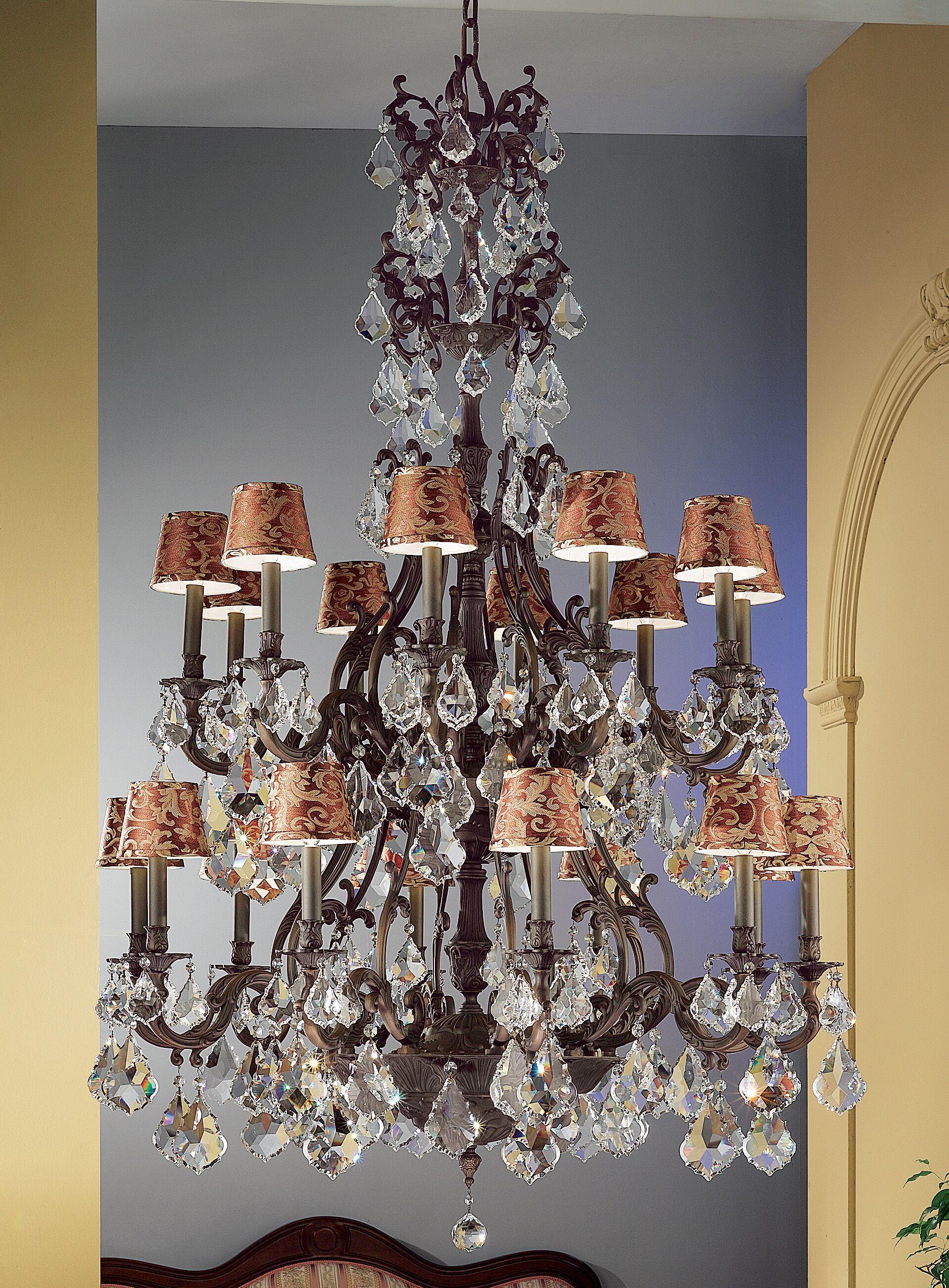 Majestic 20-Light Shaded Chandelier Finish: Aged Bronze, Crystal Type: Swarovski Elements