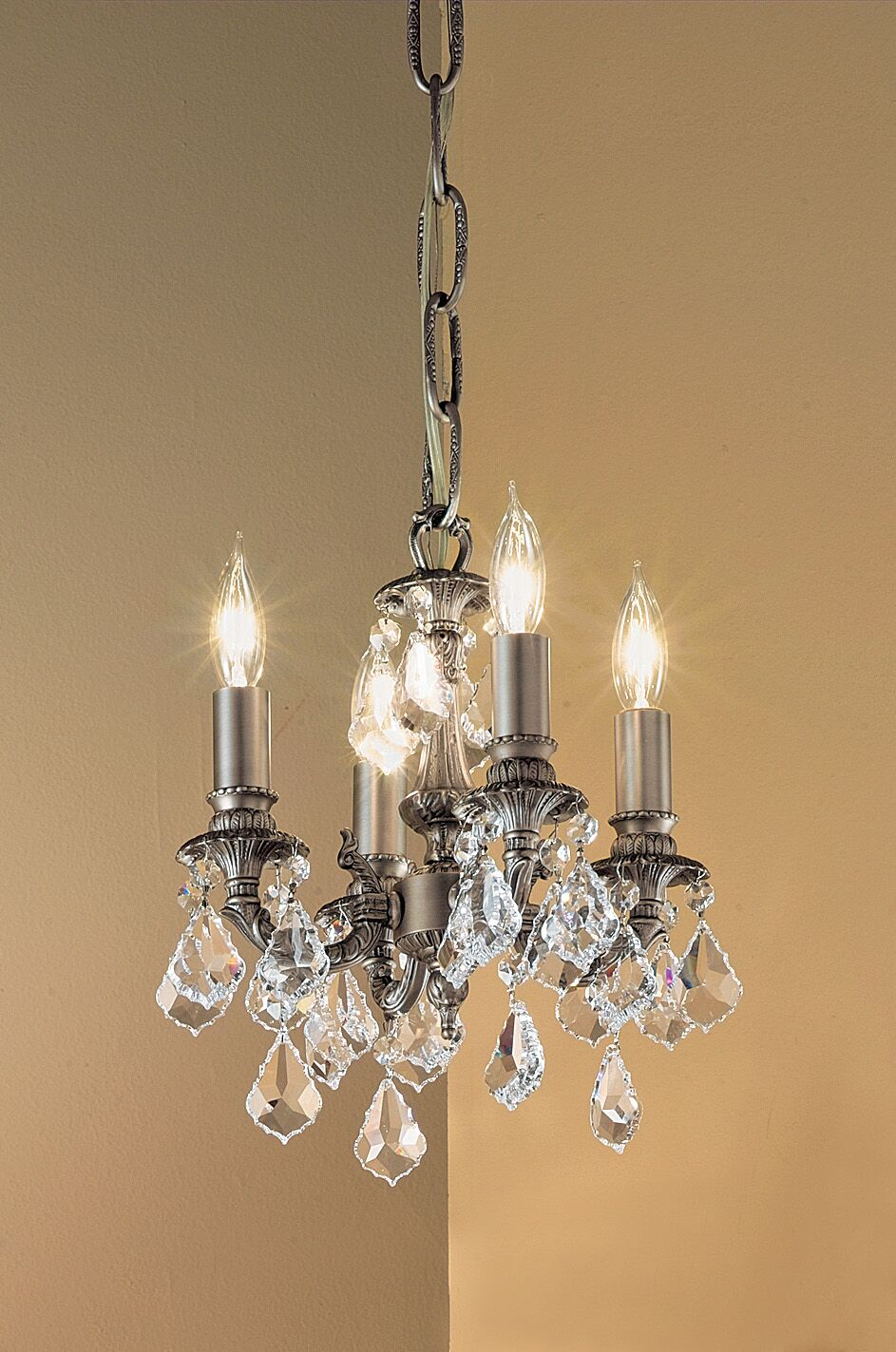 Majestic 4-Light Candle Style Chandelier Crystal Type: Crystalique Golden Teak, Finish: Aged Pewter