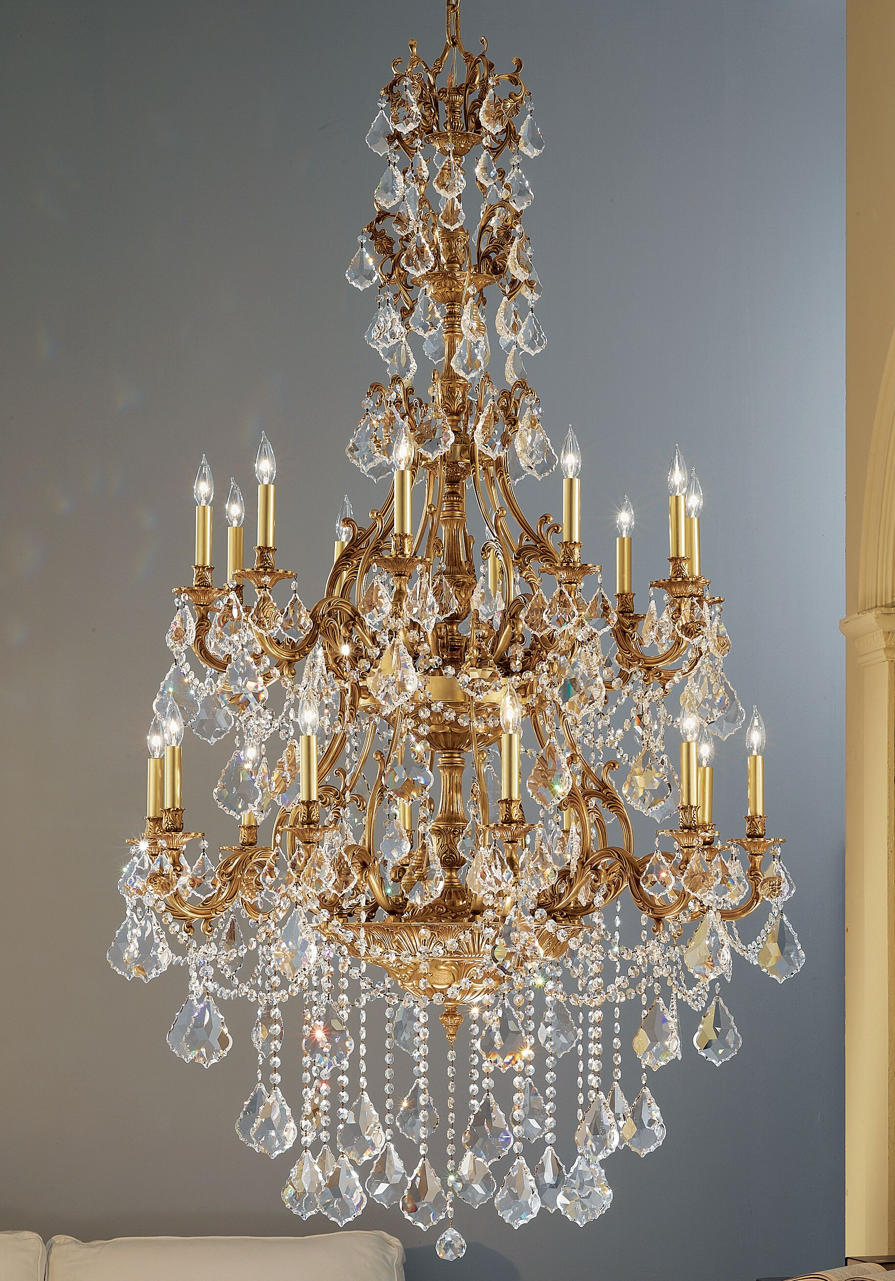 Majestic Imperial 20-Light Candle Style Chandelier Crystal Type: Crystalique Black, Finish: Aged Pewter