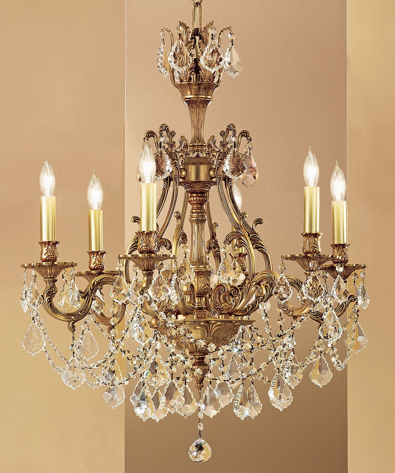 Majestic Imperial 6-Light Candle Style Chandelier Crystal Type: Swarovski Spectra, Finish: Aged Pewter