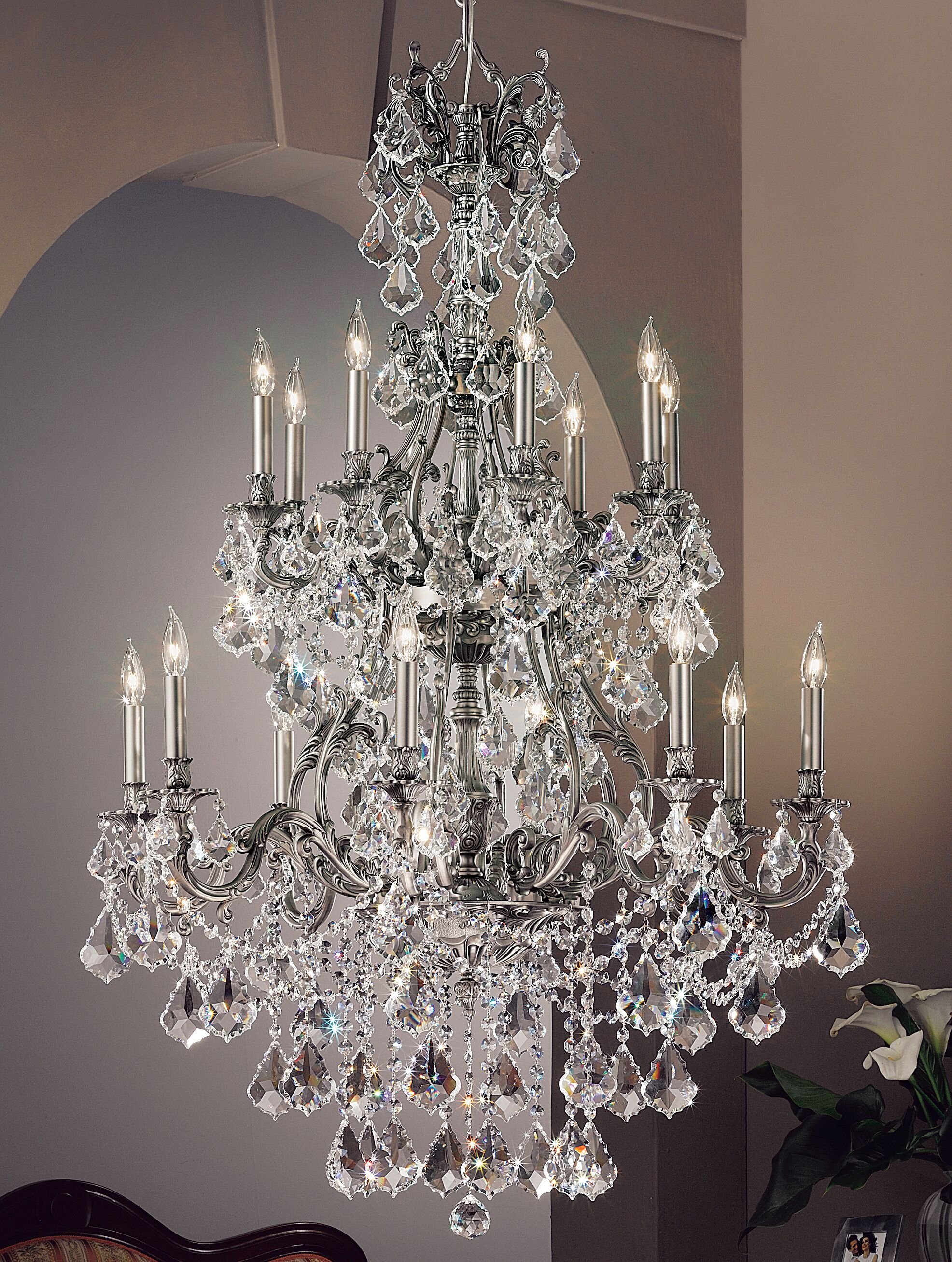Majestic Imperial 16-Light Candle Style Chandelier Crystal Type: Crystalique Black, Finish: Aged Pewter