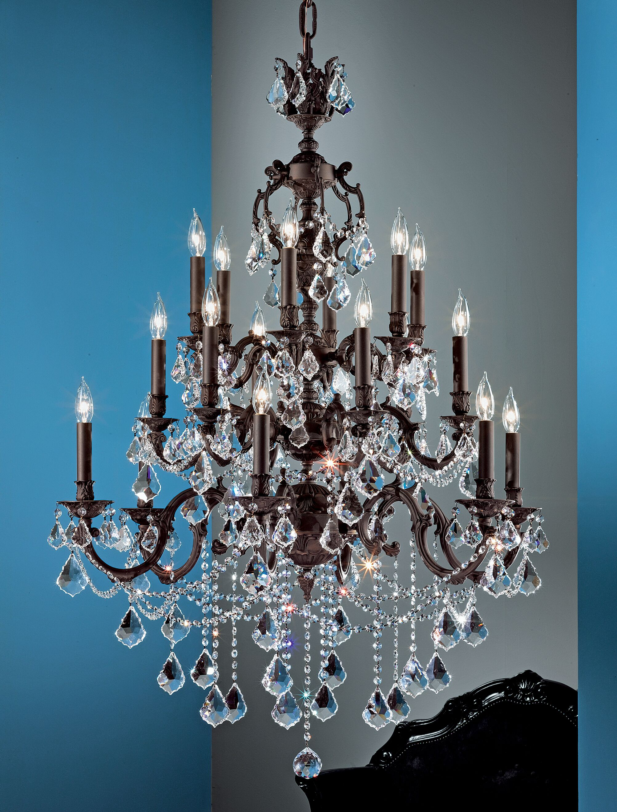 Chateau Imperial 18-Light Candle Style Chandelier Crystal Type: Swarovski Elements, Finish: Aged Pewter