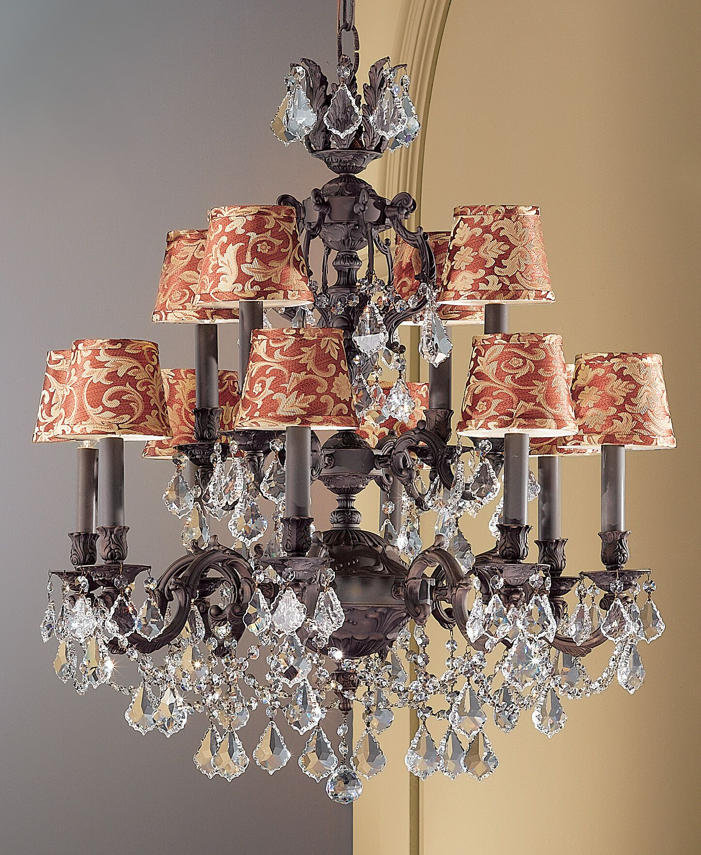 Chateau Imperial 12-Light Shaded Chandelier Finish: Aged Bronze, Crystal Type: Swarovski Spectra