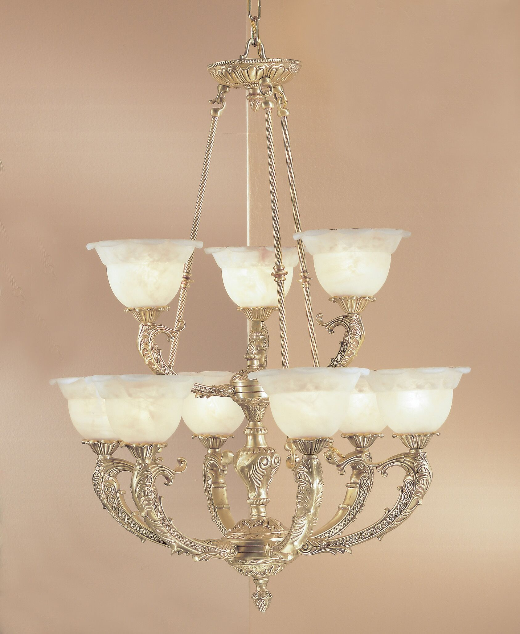 Victorian II 9-Light Shaded Chandelier Crystal Type: Swarovski Elements, Finish: Satin Bronze with Brown Patina