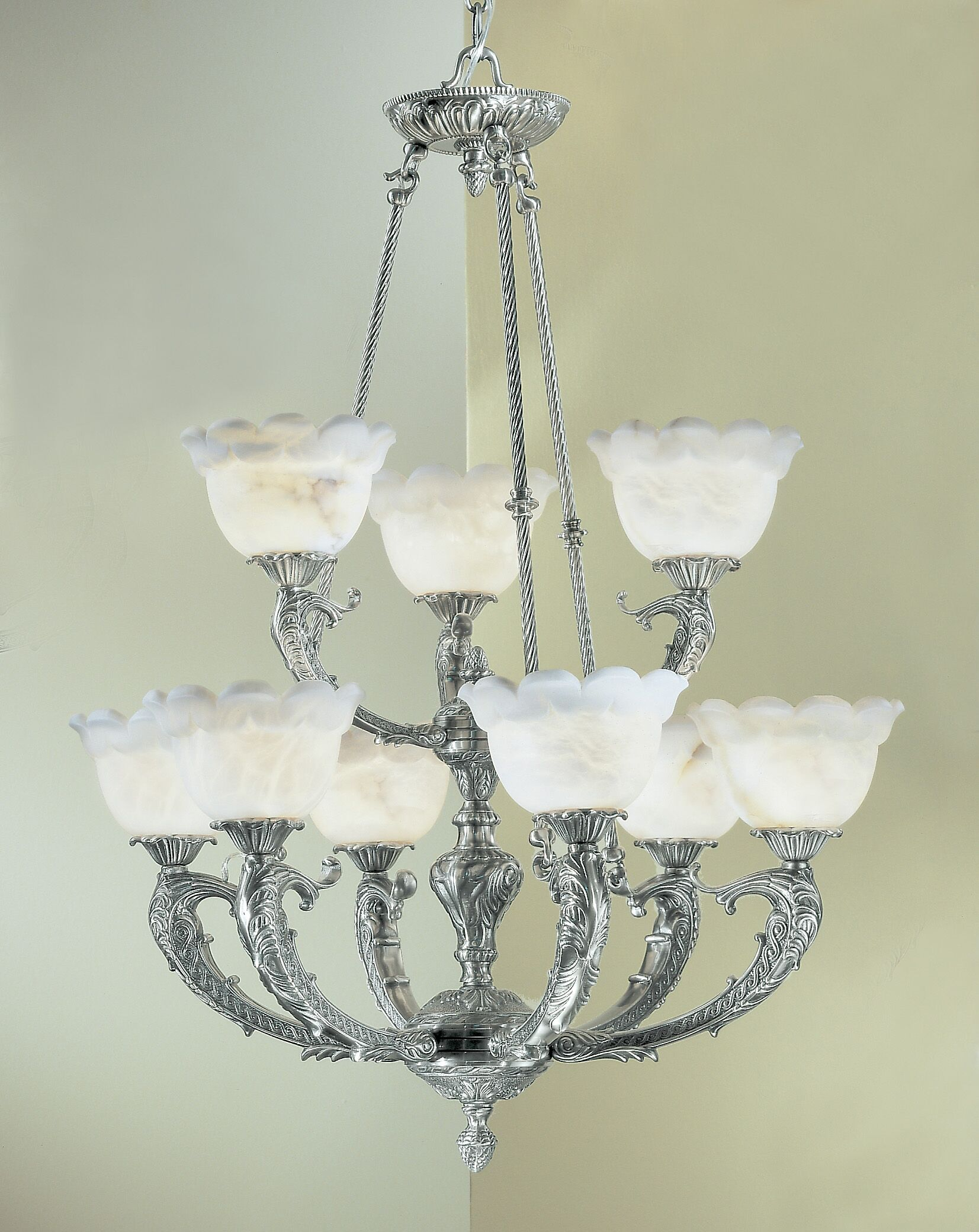 Victorian I 9-Light Shaded Chandelier Crystal Type: Swarovski Elements, Finish: Satin Bronze with Brown Patina