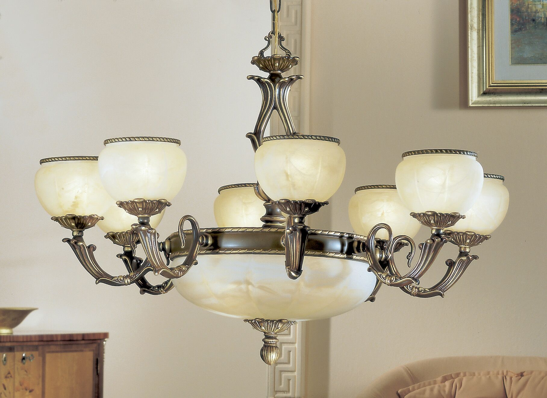 Alexandria II 12-Light Shaded Chandelier Finish: Satin Bronze, Crystal Grade: Without Crystal