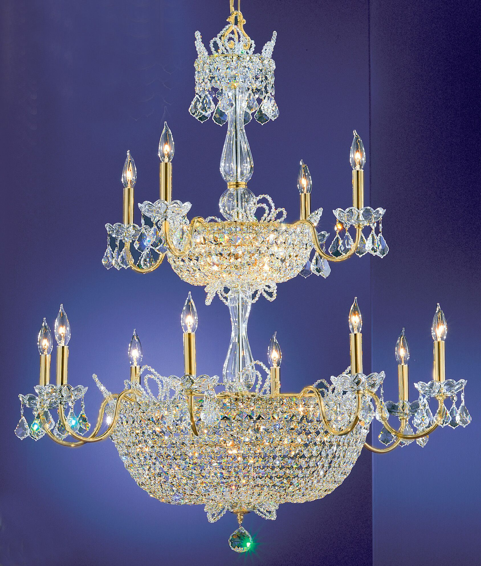 Crown Jewels 32-Light Candle Style Chandelier Crystal Type: Crystalique-Plus, Finish: Gold Plated