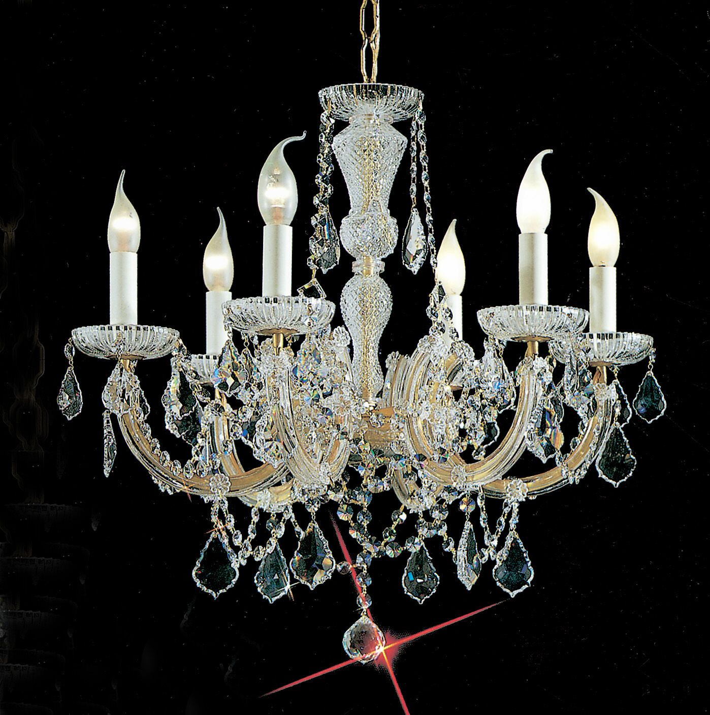Maria Thersea 6-Light Candle Style Chandelier Finish: Chrome, Crystal Type: Swarovski Spectra