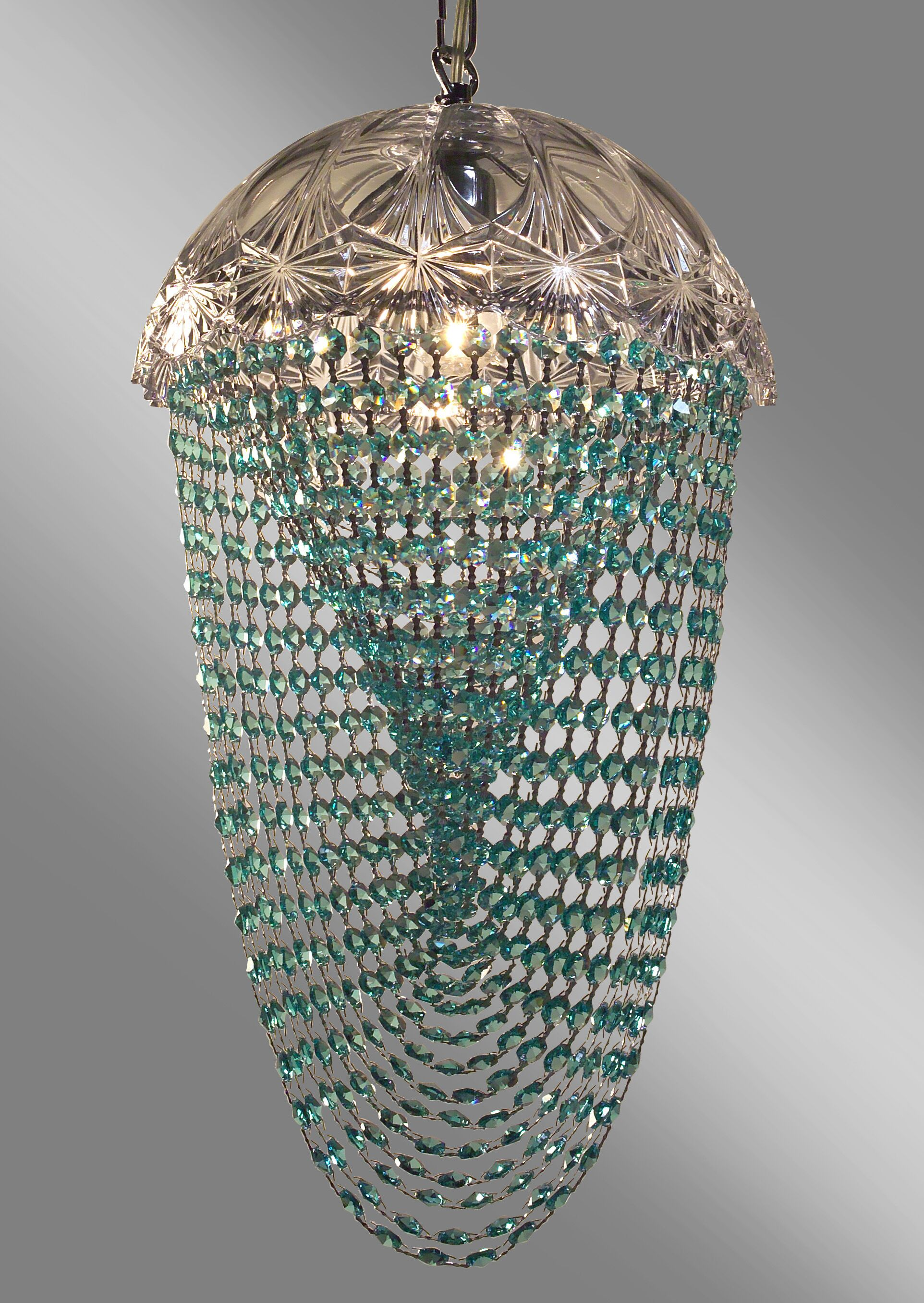 Prague Color 1-Light Bowl Pendant Crystal Type: Crystalique Clear & Antique Green