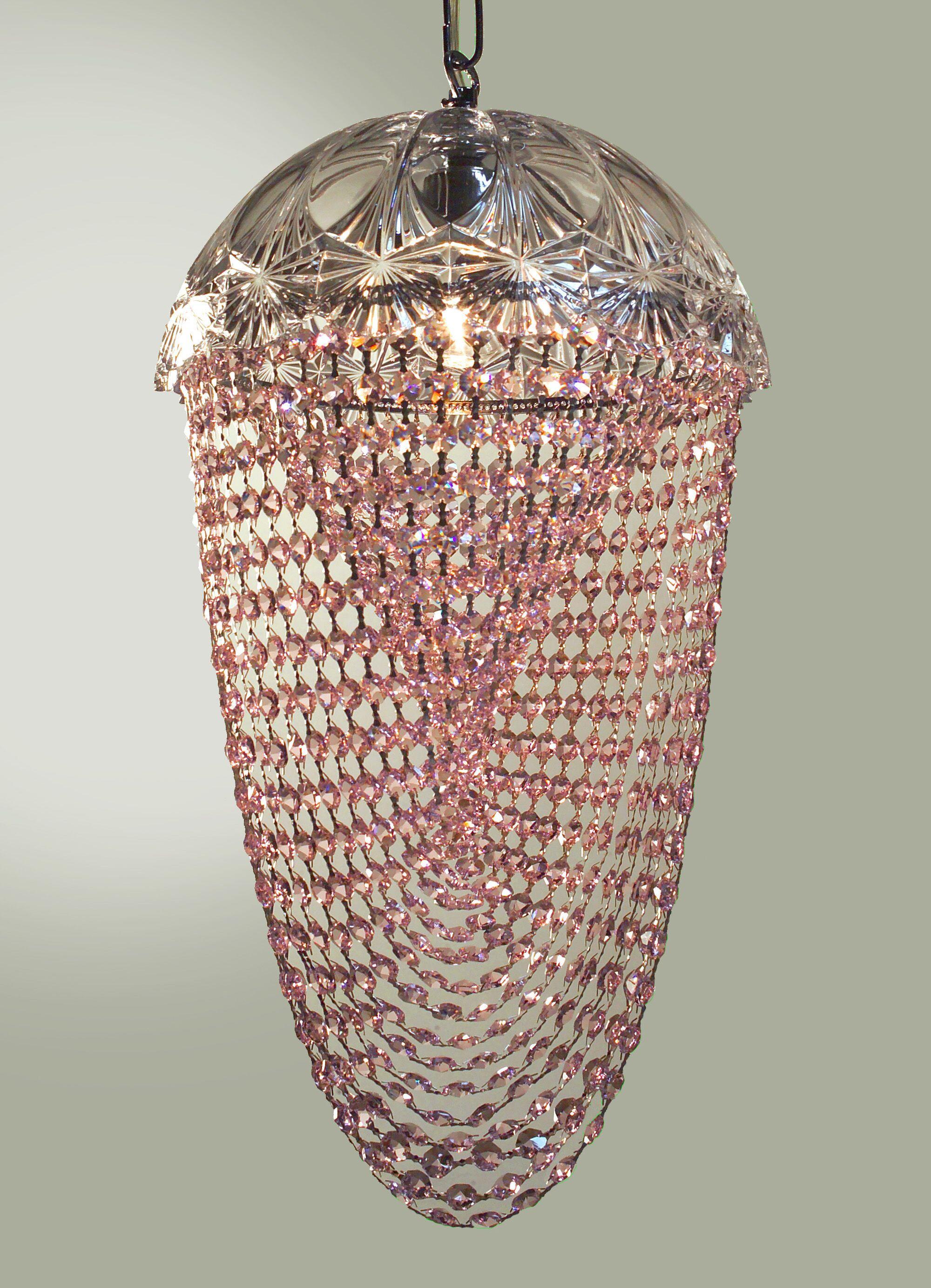 Prague Color 1-Light Bowl Pendant Crystal Type: Crystalique Pink