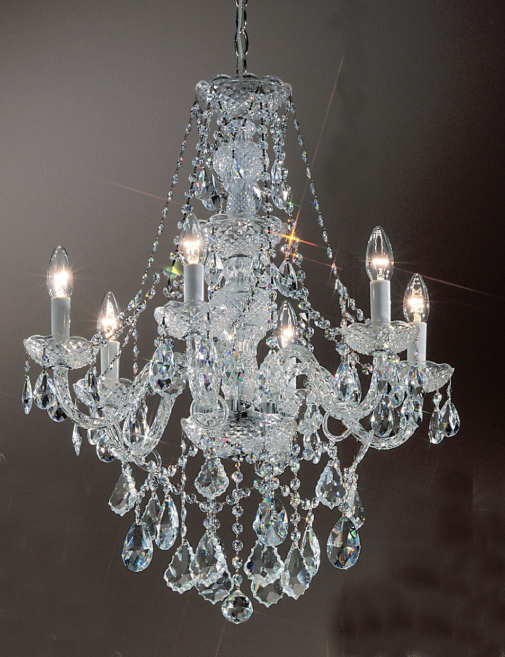 Monticello 6-Light Candle Style Chandelier Finish: Gold Plated, Crystal Trim: Swarovski Spectra