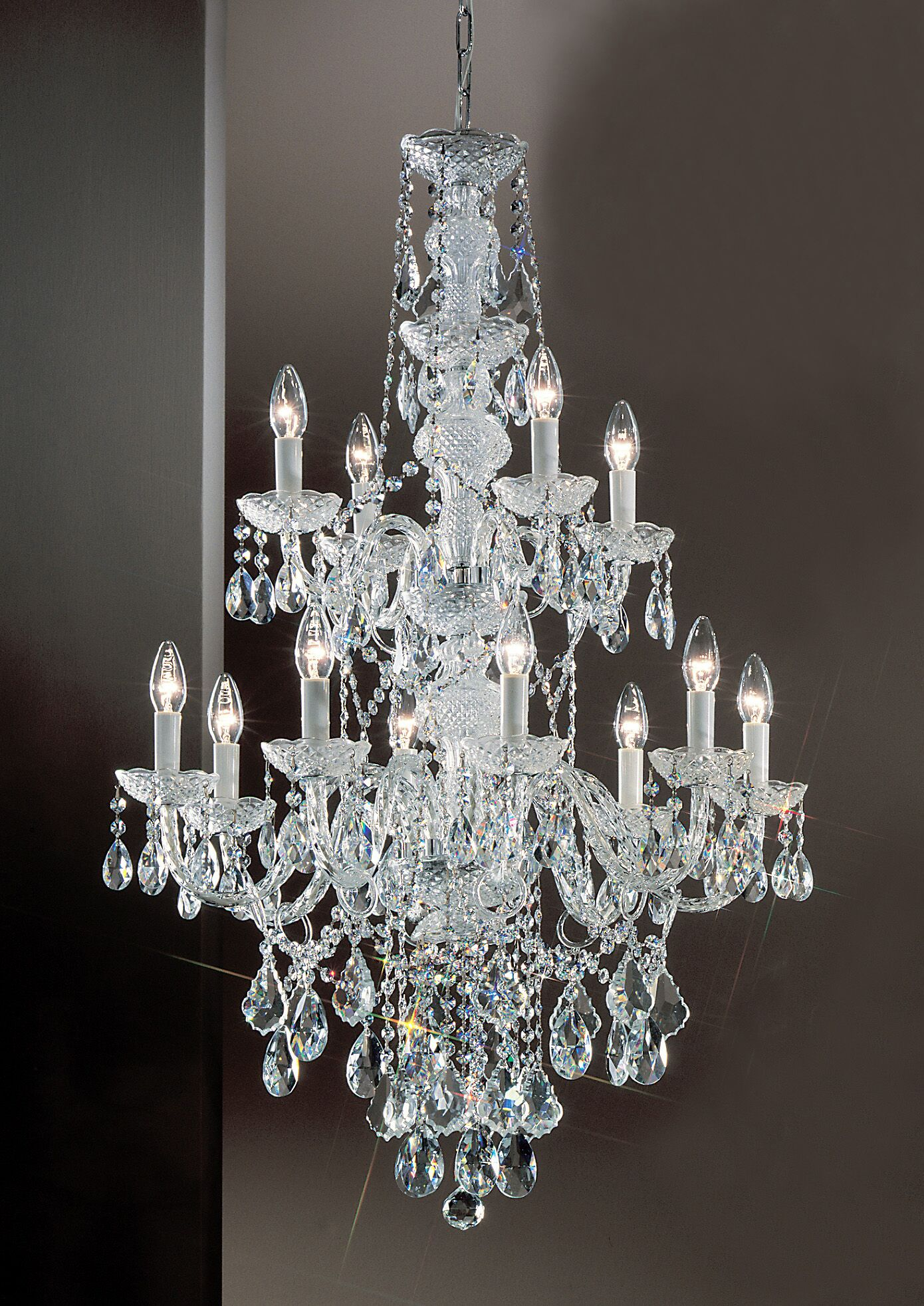 Monticello 12-Light Candle Style Chandelier Finish: Gold Plated, Crystal Trim: Crystalique