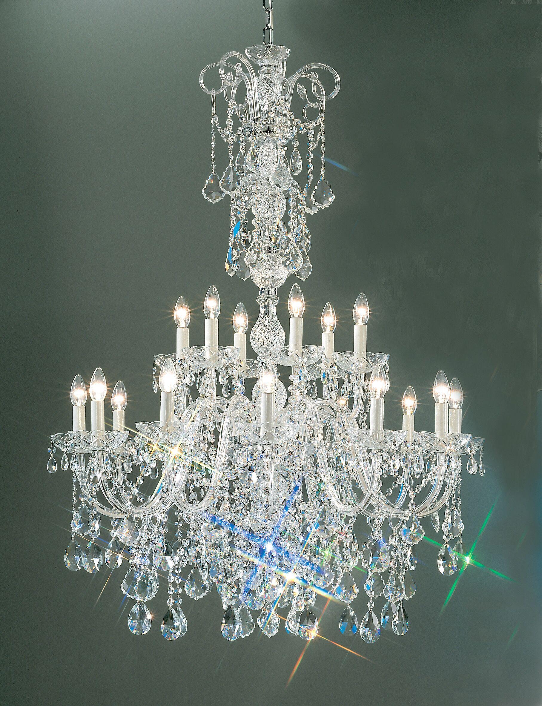 Bohemia 18-Light Candle Style Chandelier Crystal Type: Swarovski Elements, Finish: 24K Gold Plate