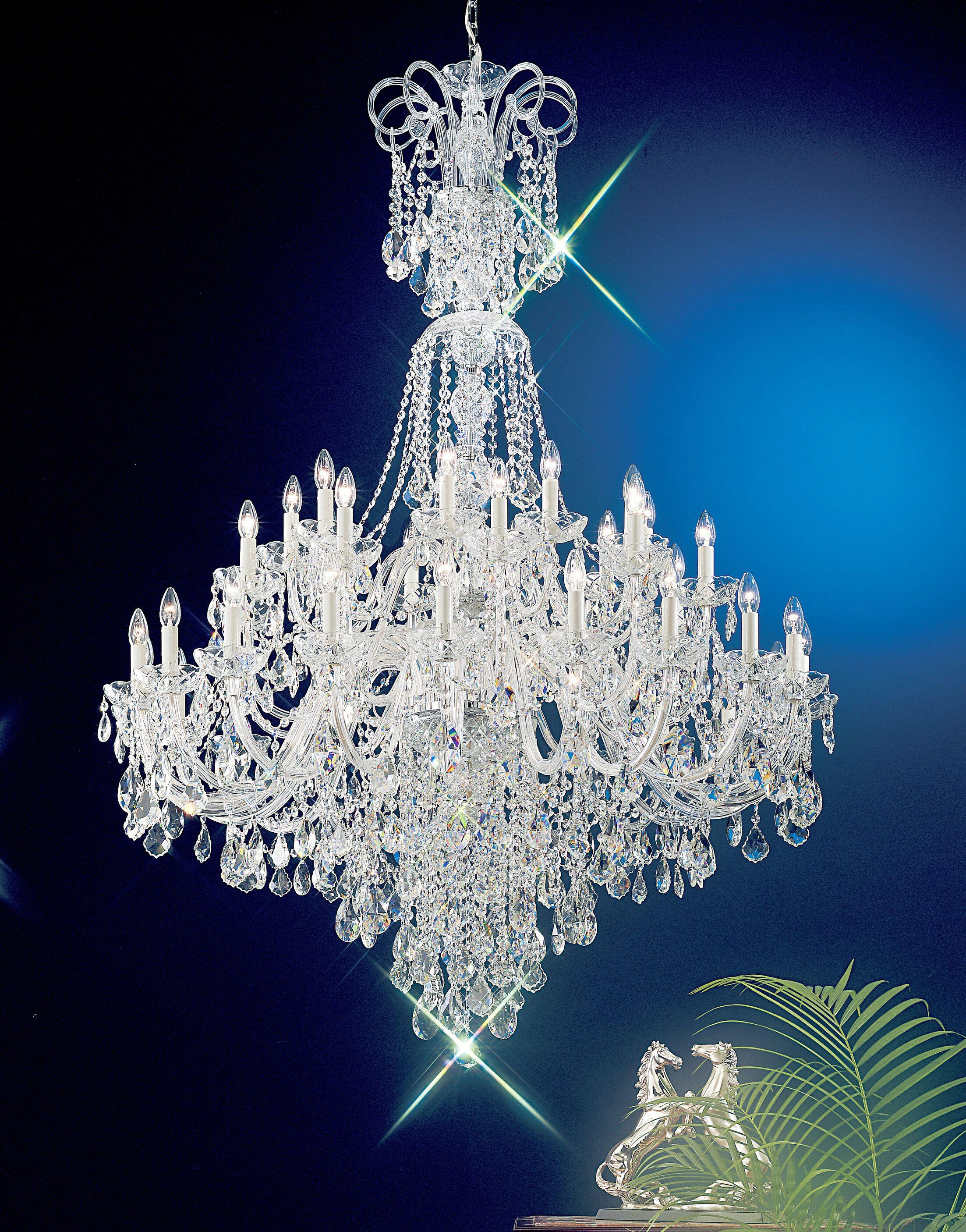 Bohemia 40-Light Candle Style Chandelier Crystal Type: Swarovski Elements, Finish: 24K Gold Plate