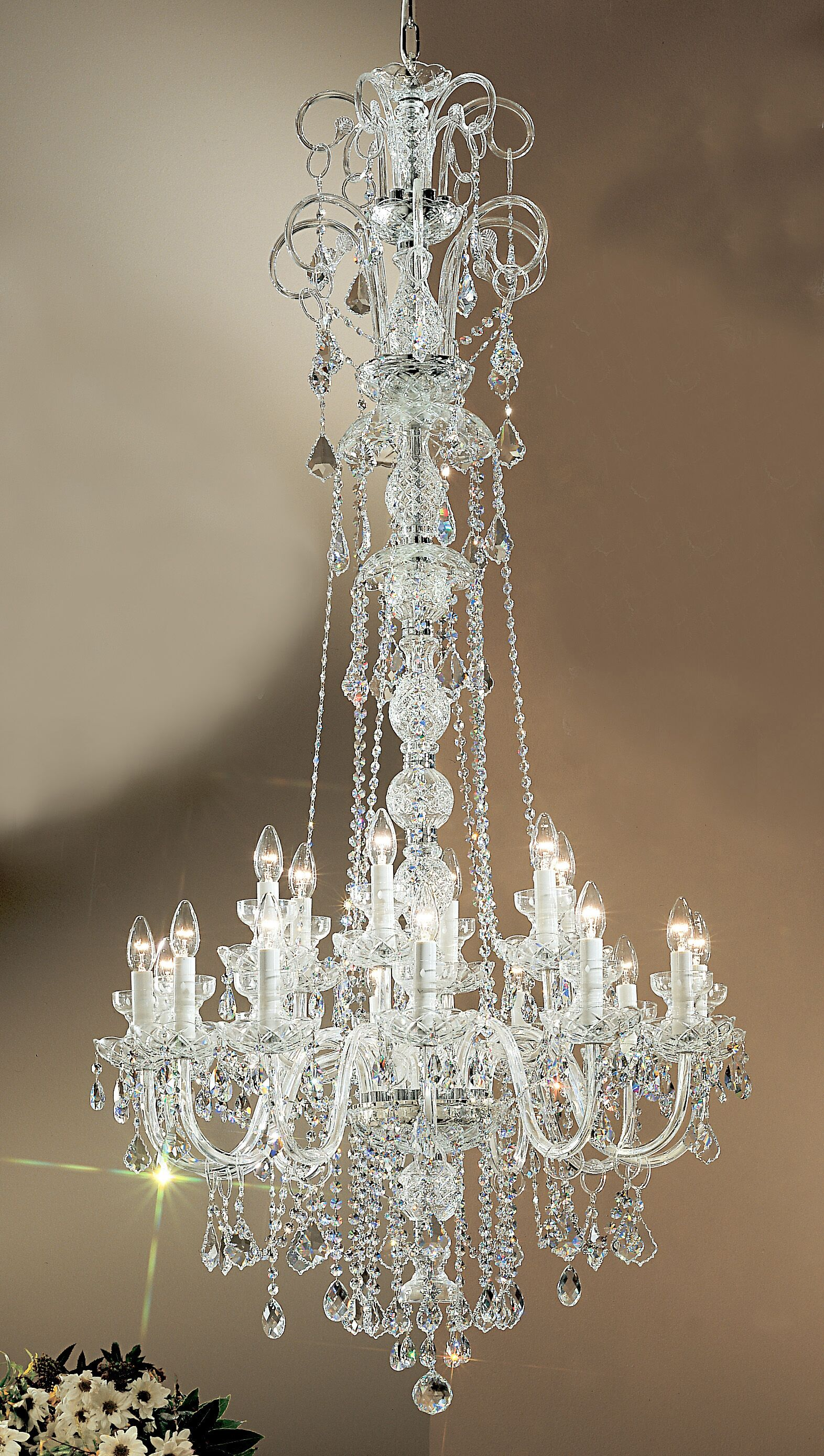 Bohemia 18-Light Candle Style Chandelier Crystal Type: Crystalique, Finish: 24K Gold Plate, Size: 65