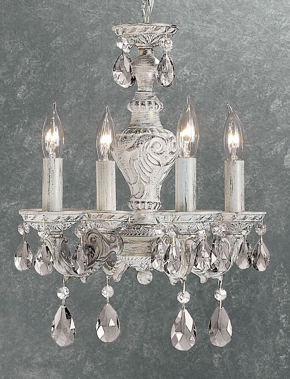 Gabrielle 4-Light Candle Style Chandelier Finish: Antique White, Crystal Type: Crystalique
