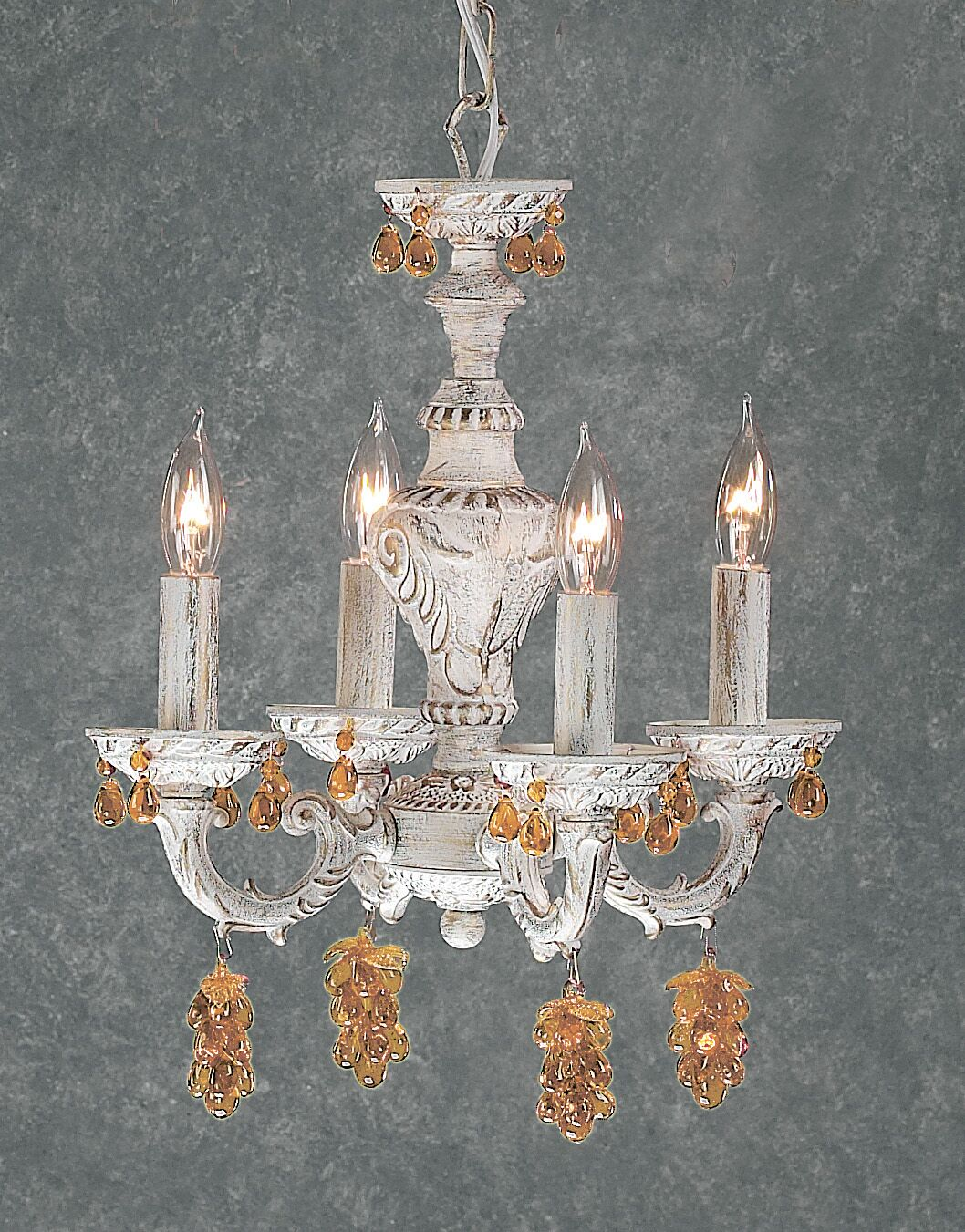 Gabrielle 4-Light Candle Style Chandelier Finish: Antique White, Crystal Type: Swarovski Elements