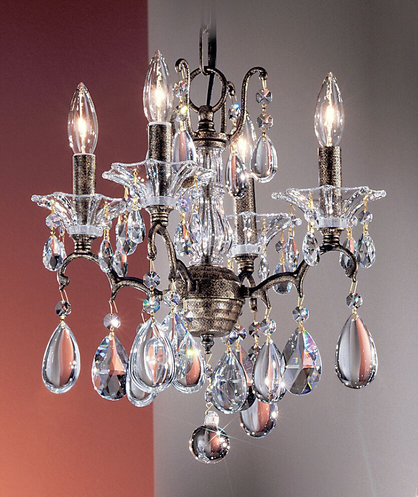 Garden of Versailles 4-Light Candle Style Chandelier Finish: Antique Bronze with Gold Patina, Crystal Type: Drops Amethyst