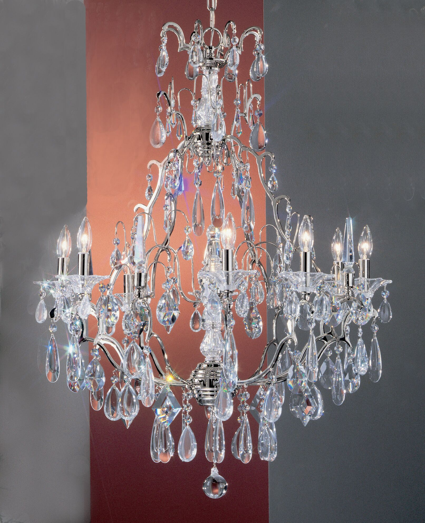 Garden of Versailles 9-Light Candle Style Chandelier Finish: Antique Bronze with Gold Patina, Crystal Type: Pears Straw