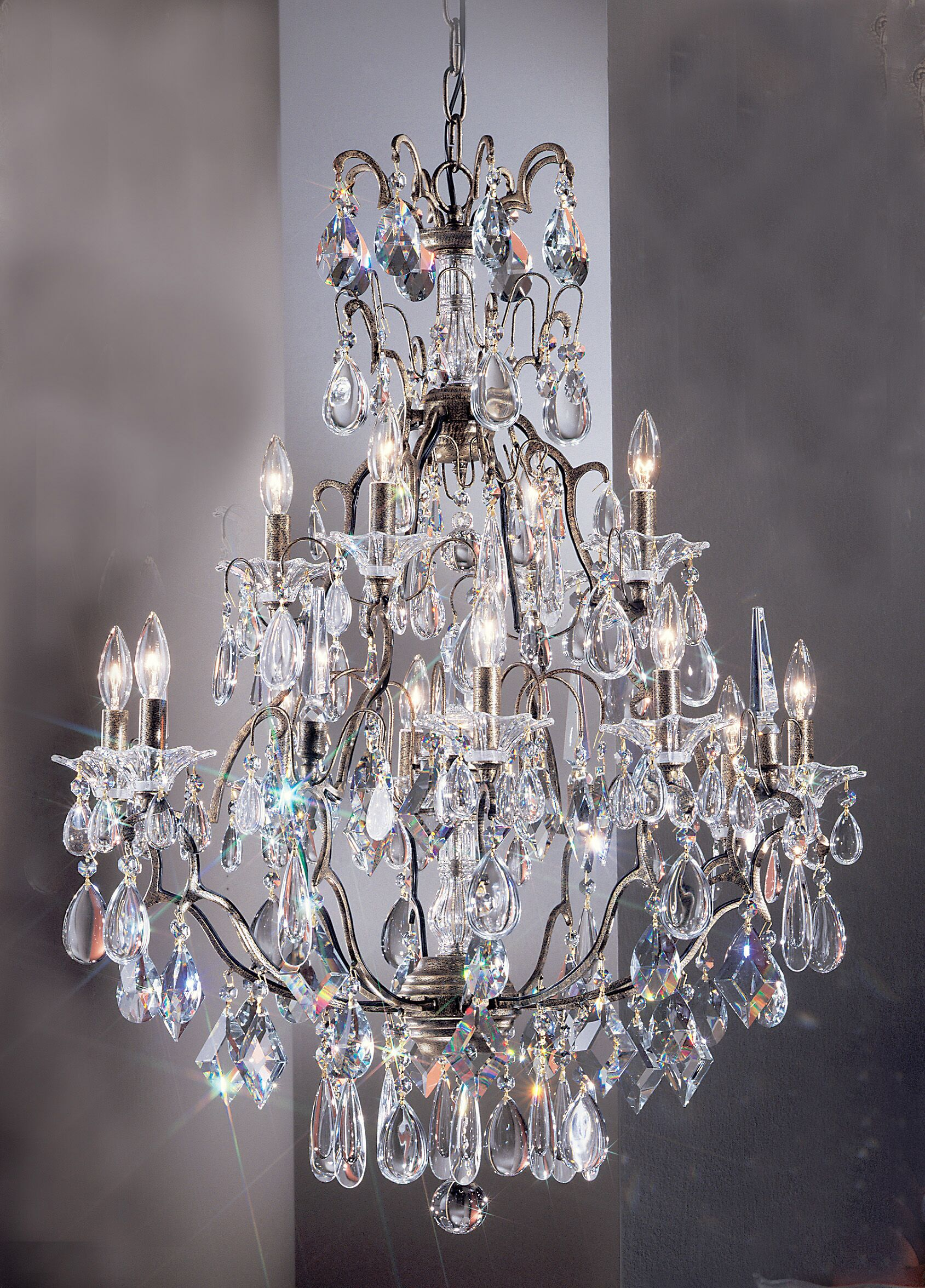 Garden of Versailles 13-Light Candle Style Chandelier Crystal Type: Grapes Straw, Finish: Chrome