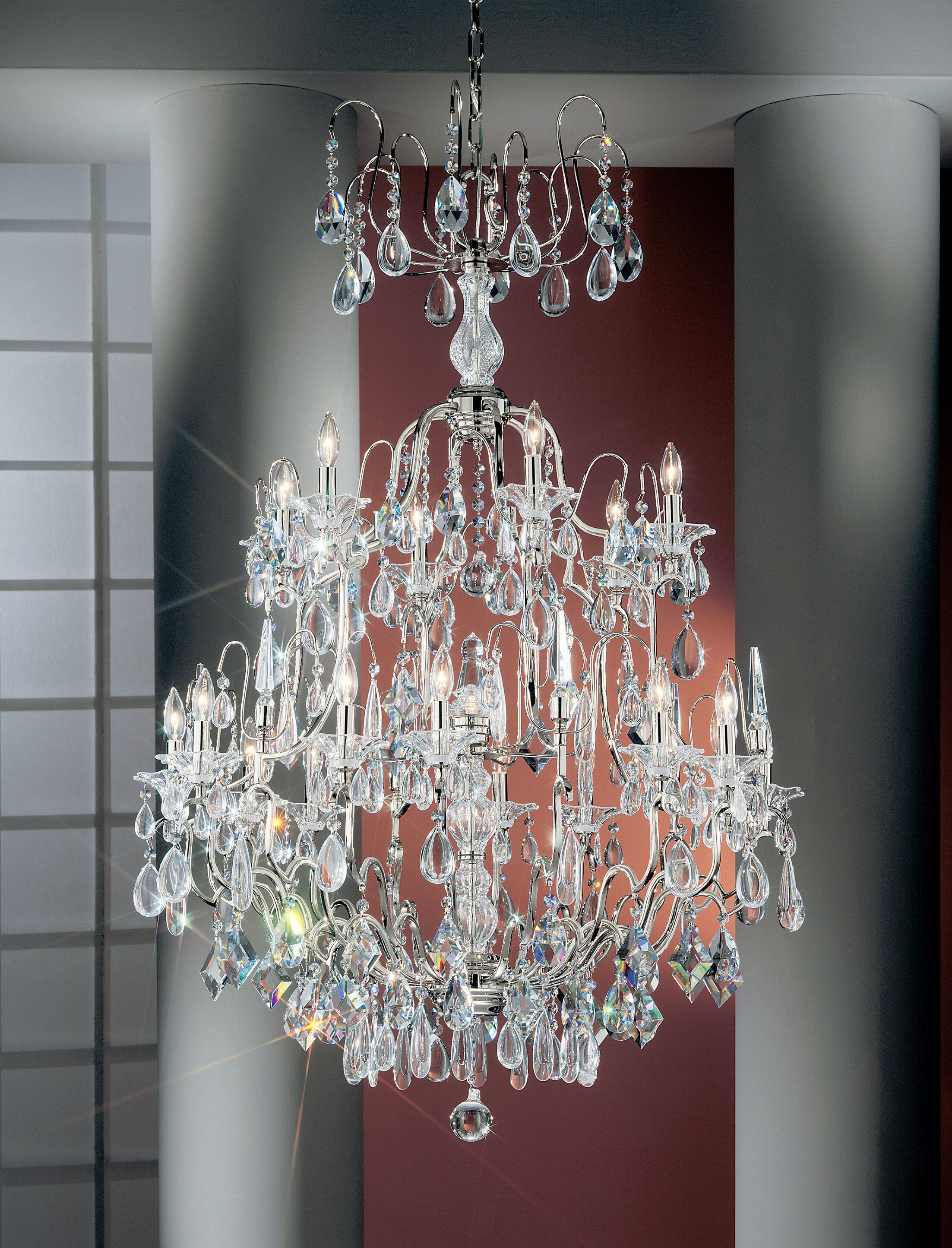 Garden of Versailles 19-Light Candle Style Chandelier Crystal Type: Drops Amethyst, Finish: Chrome