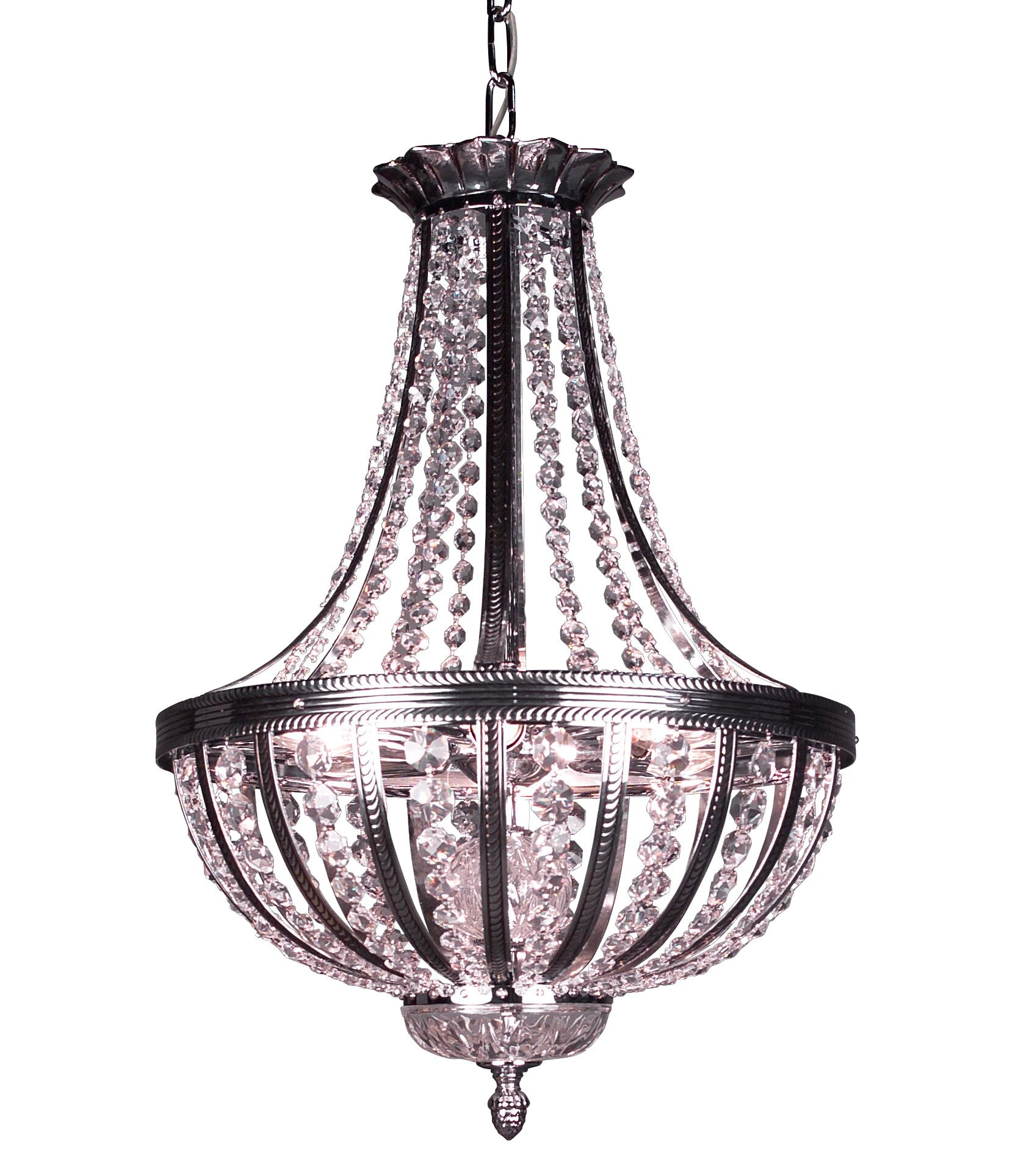 Terragona 6-Light Empire Chandelier Finish: Chrome with Black patina, Crystal Type: Crystalique Plus