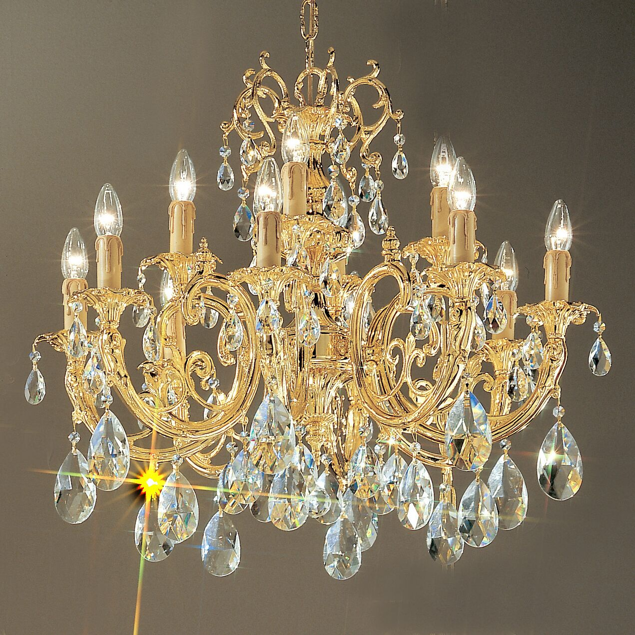 Princeton 12-Light Chandelier Finish: 24K Gold Plate, Crystal Type: Swarovski Elements