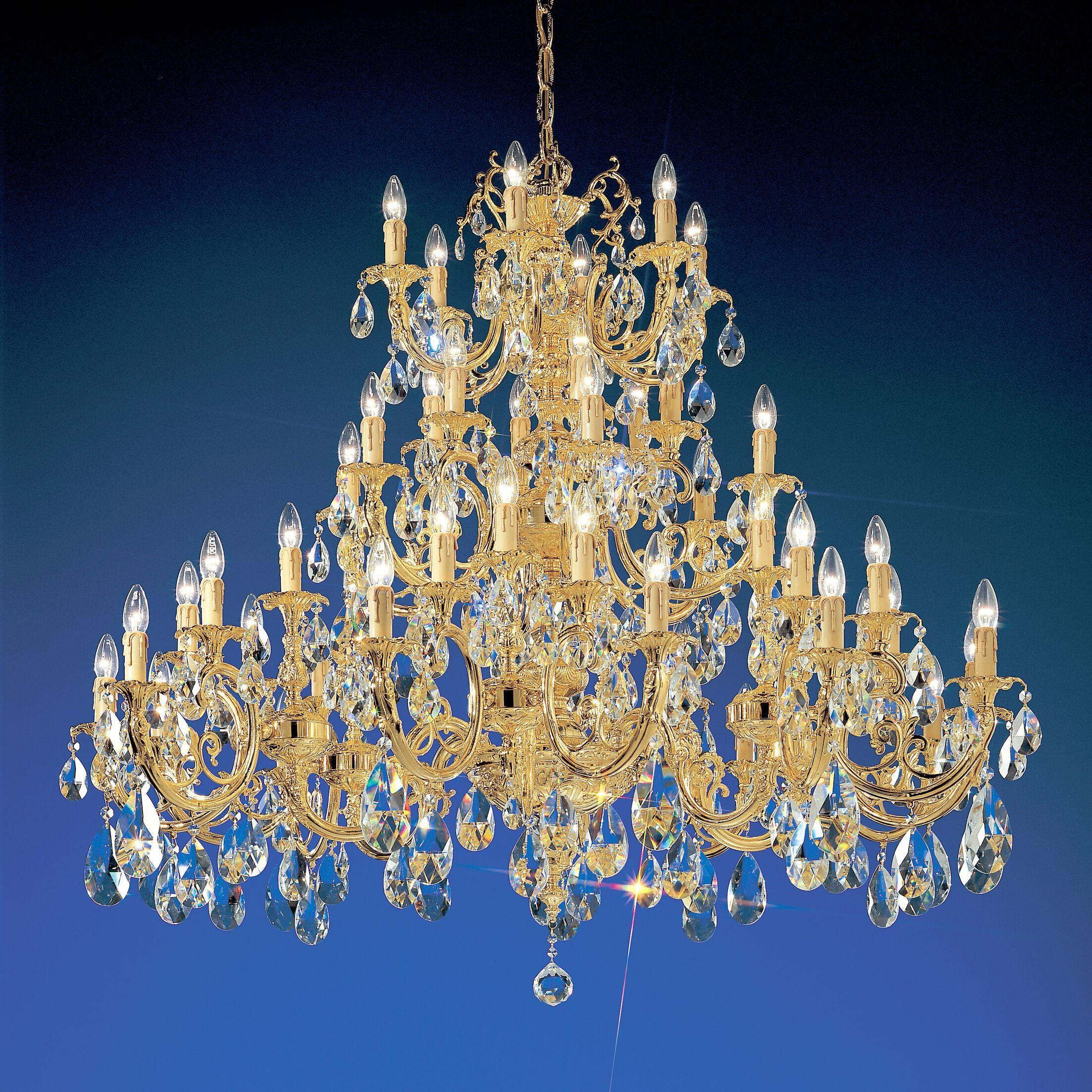Princeton 48-Light Chandelier Finish: 24K Gold Plate, Crystal Type: Swarovski Spectra
