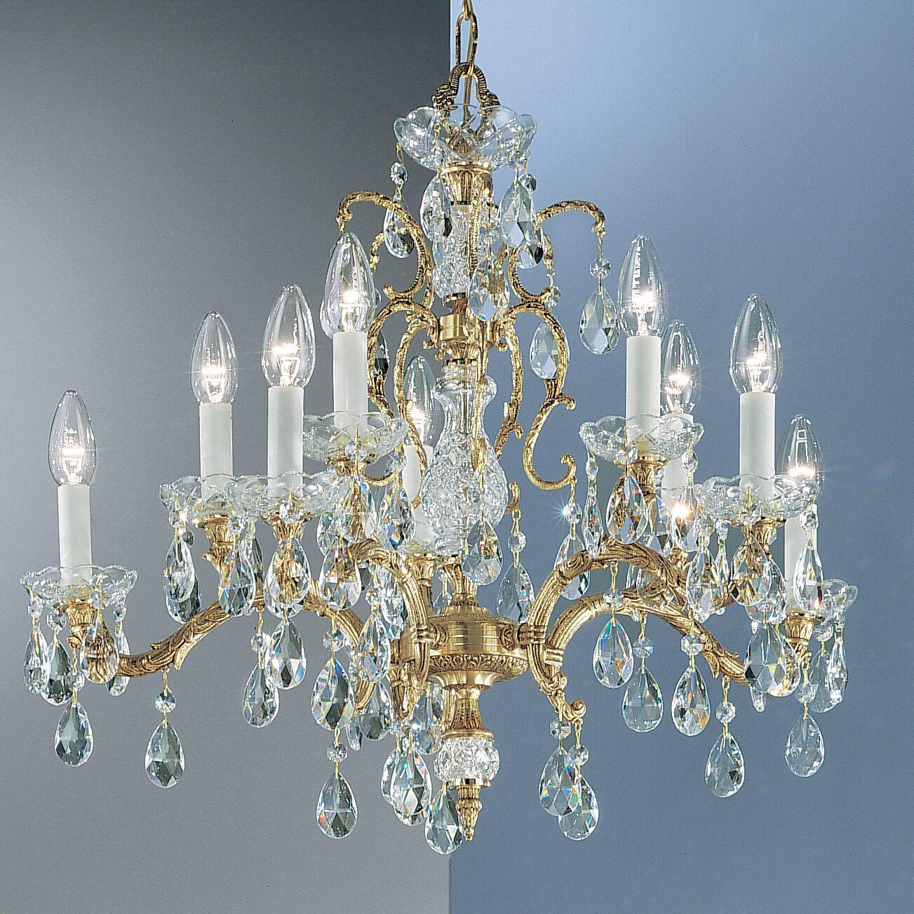 Madrid 10-Light Candle Style Chandelier Finish: Olde World Bronze, Crystal Type: Prisms Amber