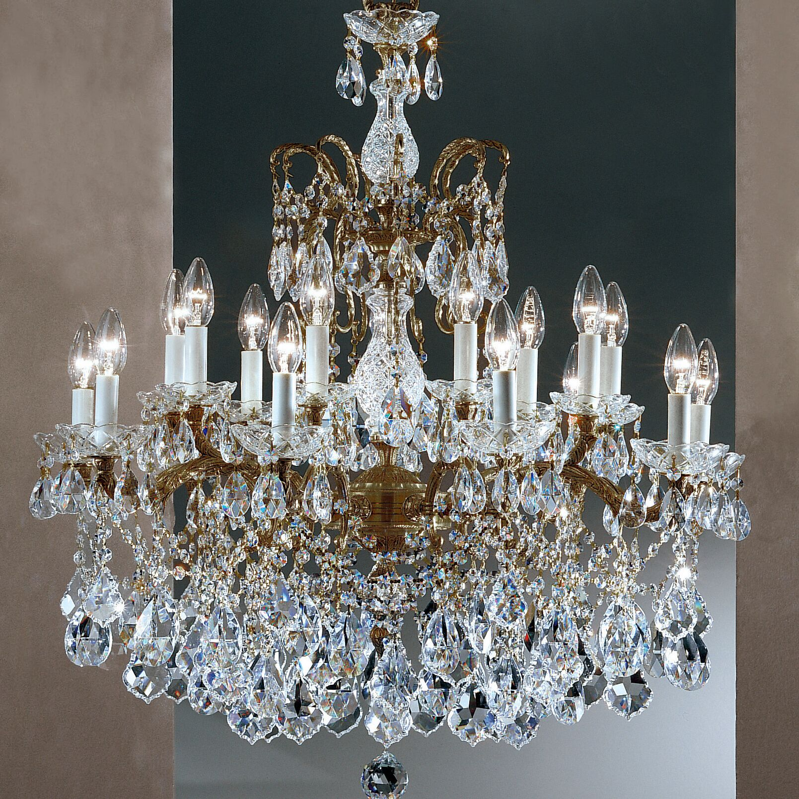 Madrid Imperial 18-Light Candle Style Chandelier Finish: Roman Bronze, Crystal Type: Crystalique