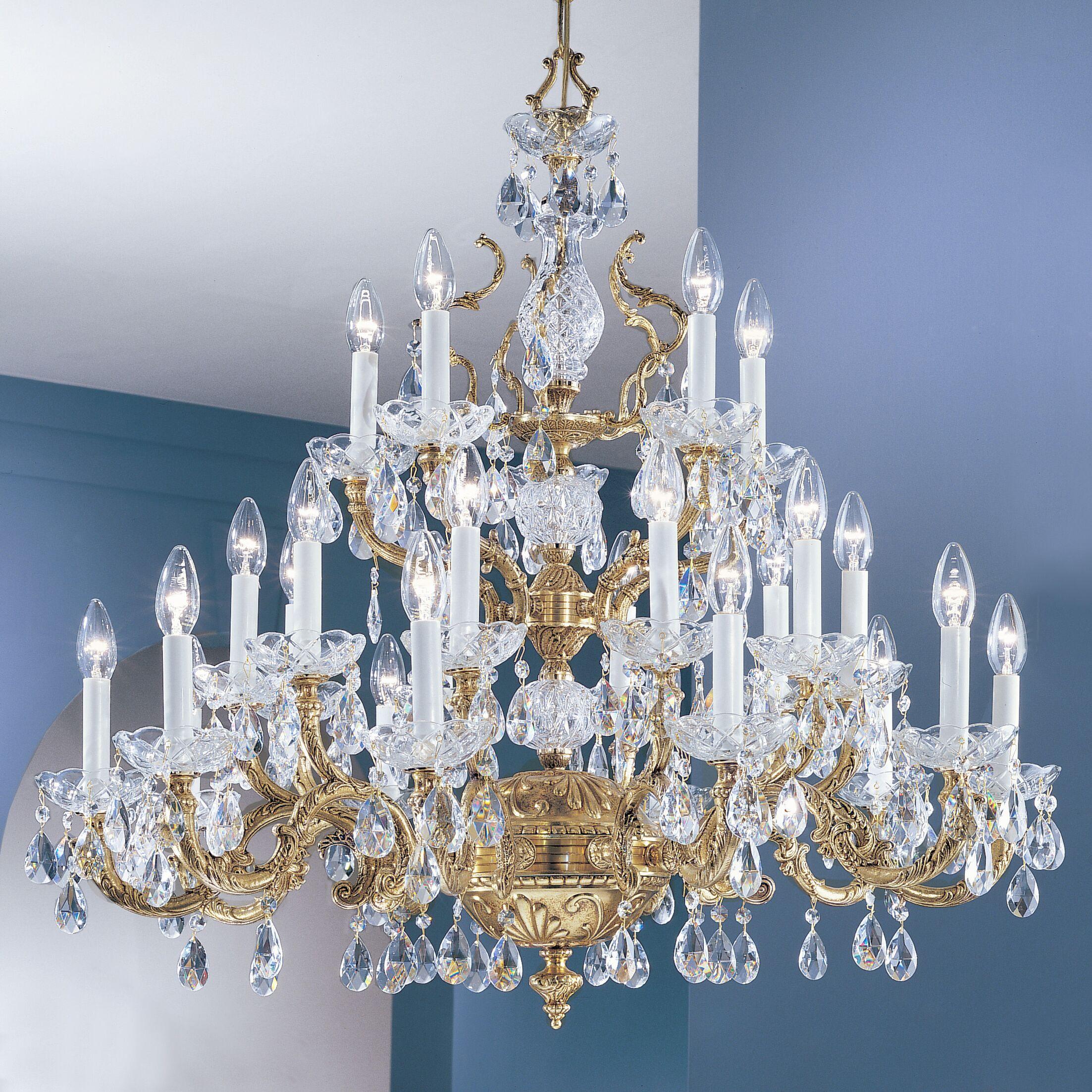 Madrid 25-Light Candle Style Chandelier Finish: Olde World Bronze, Crystal Type: Swarovski Spectra