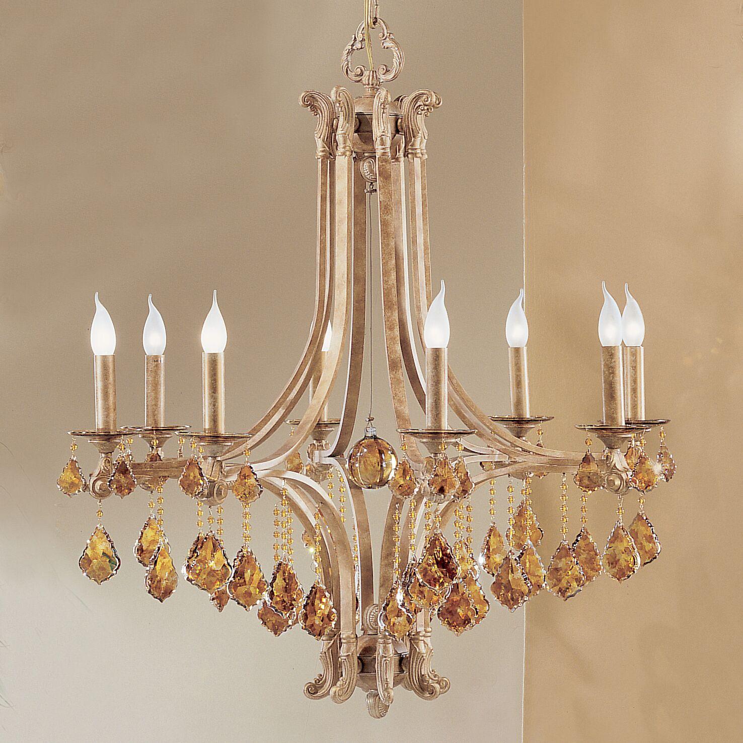 Mediterranean 8-Light Candle Style Chandelier