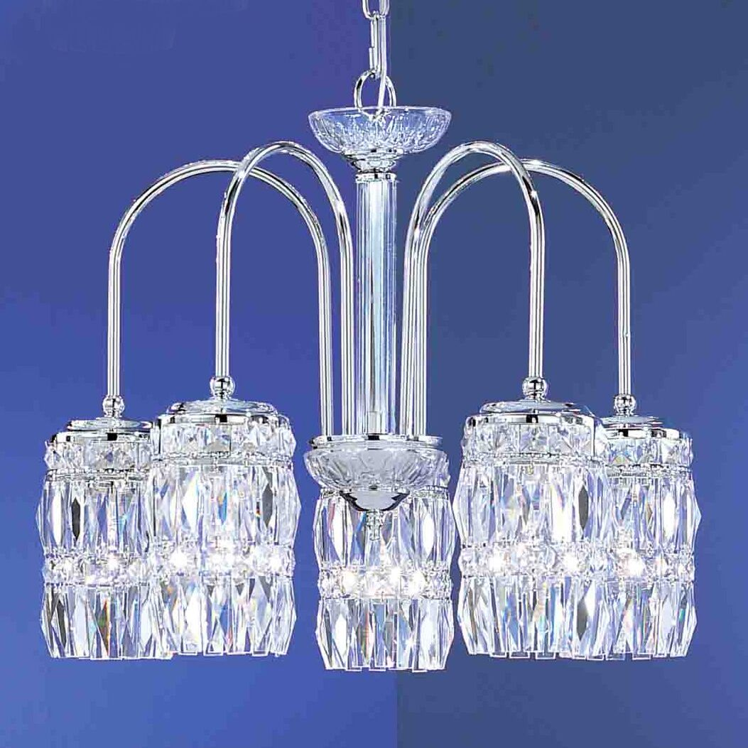 Cascade 5-Light Shaded Chandelier Finish: Antique White, Crystal Type: Crystalique Plus