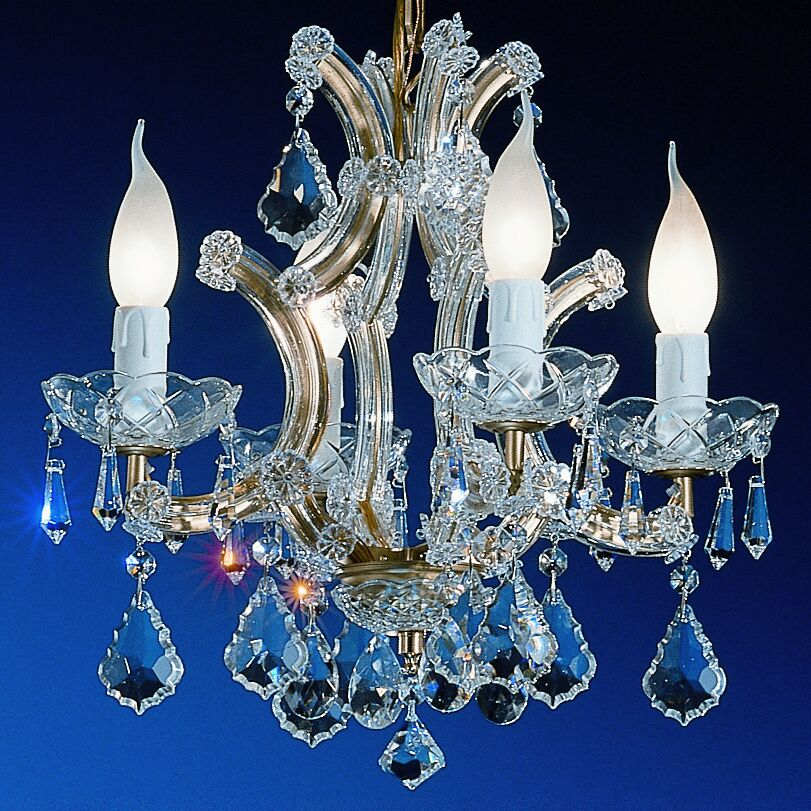 Maria Thersea 4-Light Candle Style Chandelier Crystal Type: Crystalique, Finish: Olde World Gold