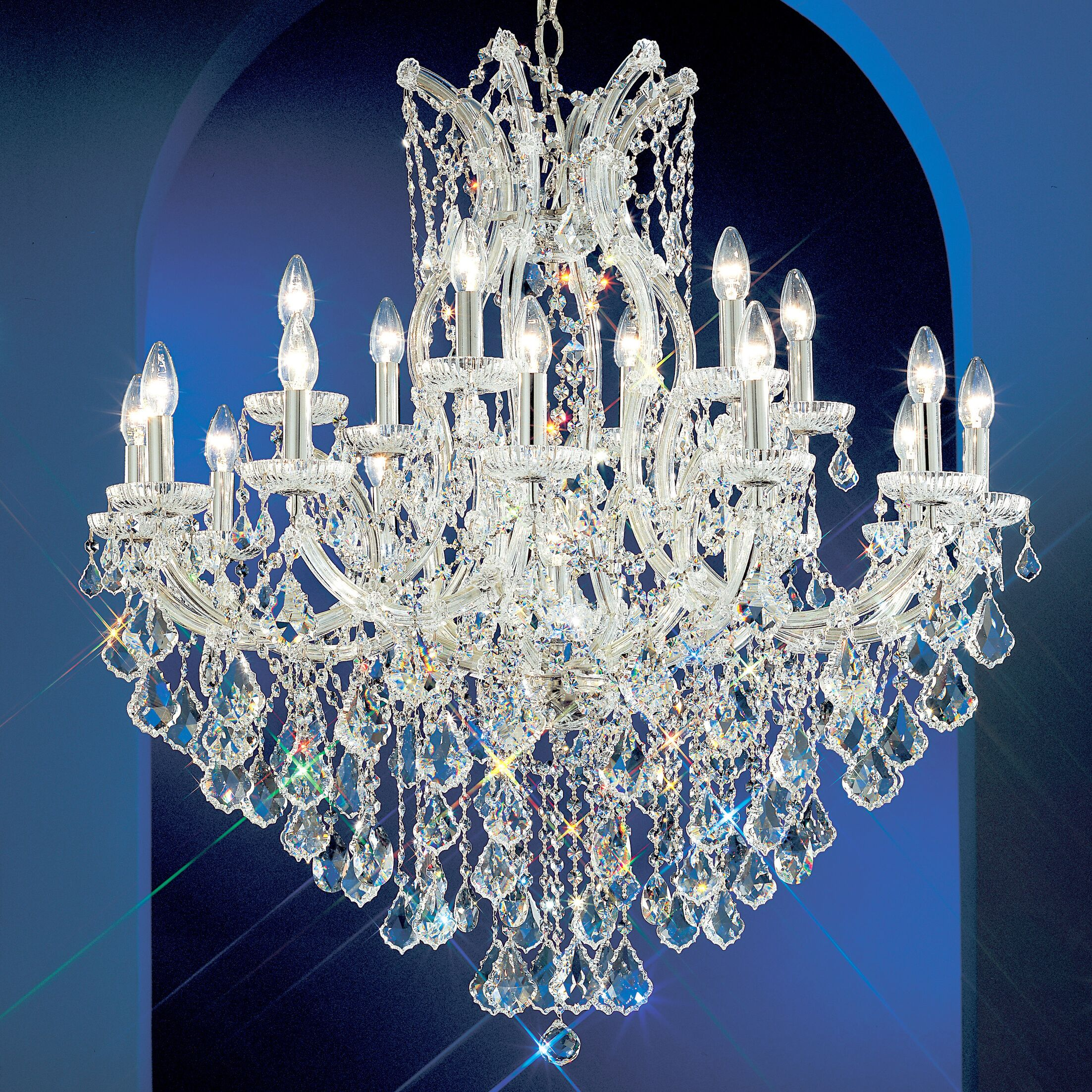 Maria Thersea 19-Light Candle Style Chandelier Finish: Chrome, Crystal Type: Swarovski Elements