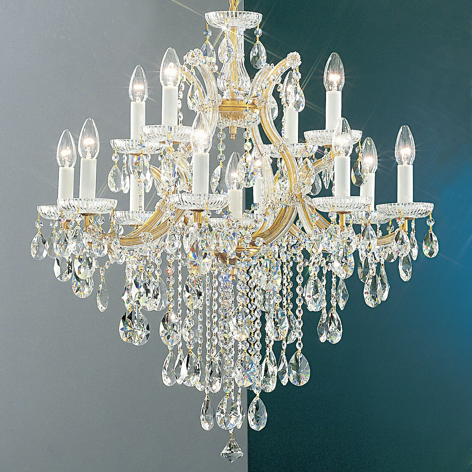 Maria Thersea 13-Light Candle Style Chandelier Crystal Type: Crystalique, Finish: Olde World Gold