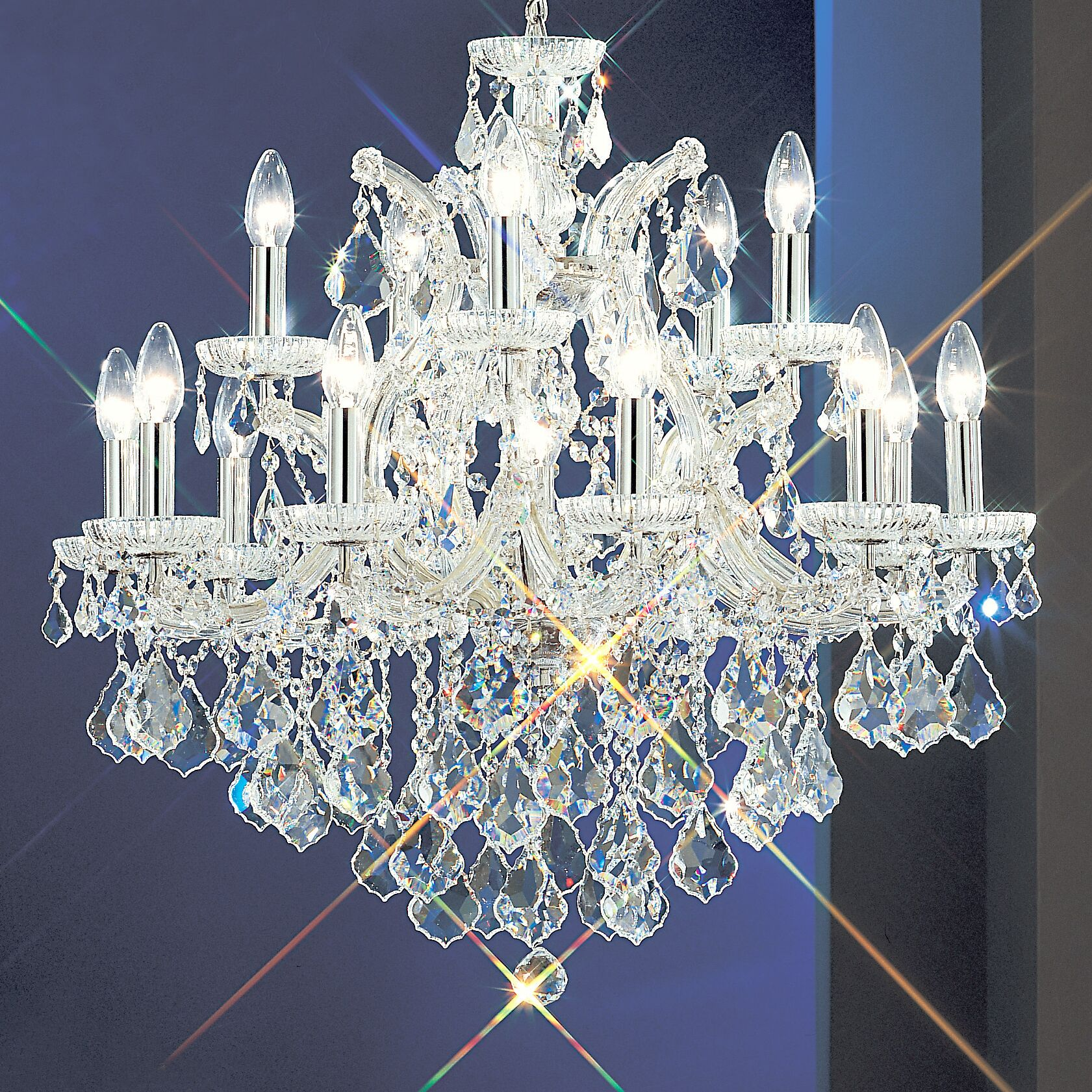 Maria Thersea 16-Light Candle Style Chandelier Finish: Chrome, Crystal Type: Swarovski Spectra