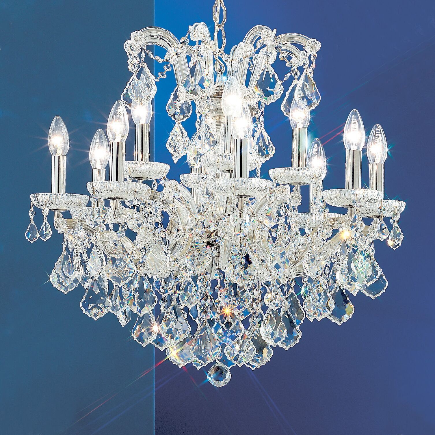 Maria Thersea 12-Light Candle Style Chandelier Finish: Chrome, Crystal Type: Crystalique