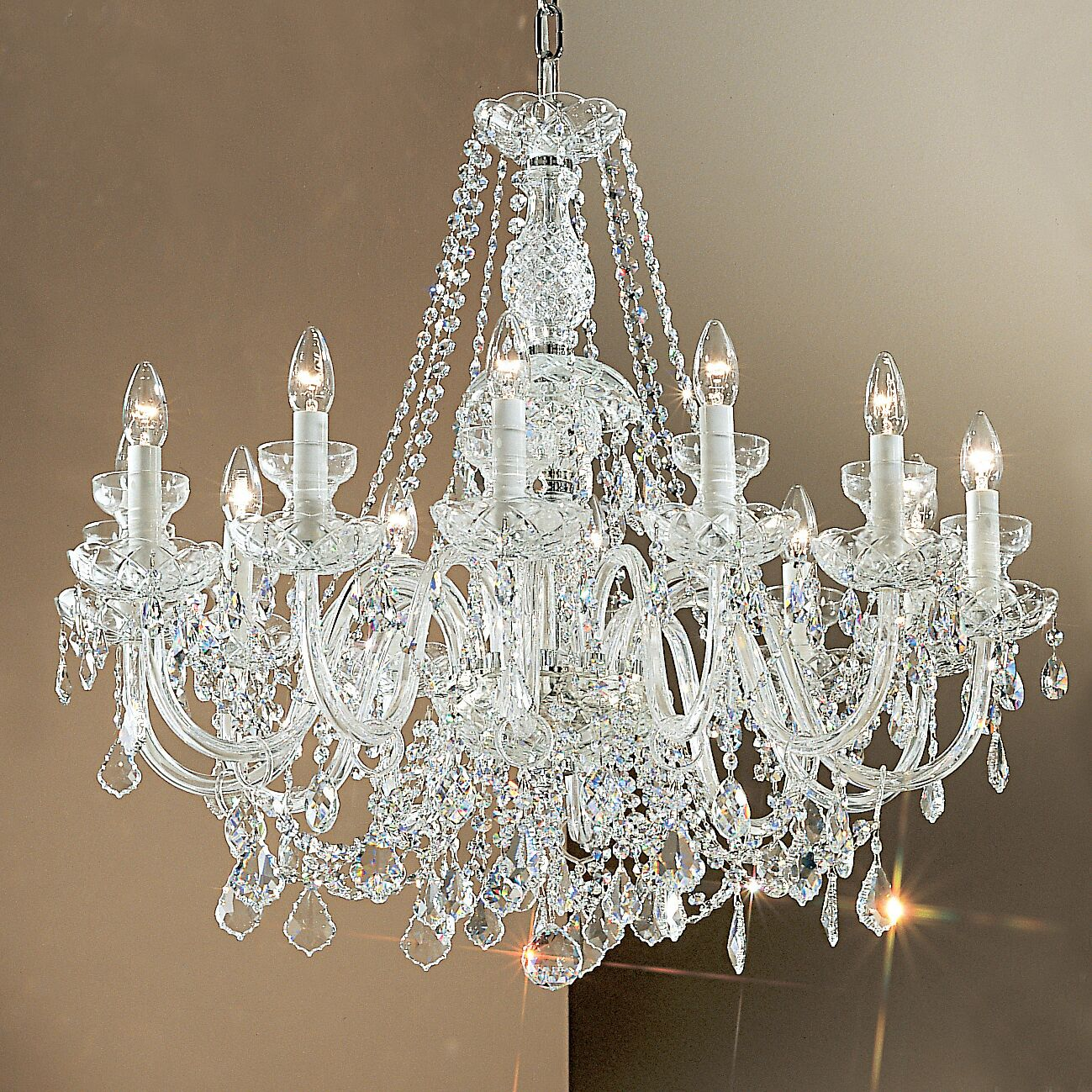 Bohemia 12-Light Candle Style Chandelier Crystal Type: Swarovski Spectra, Finish: 24K Gold Plate