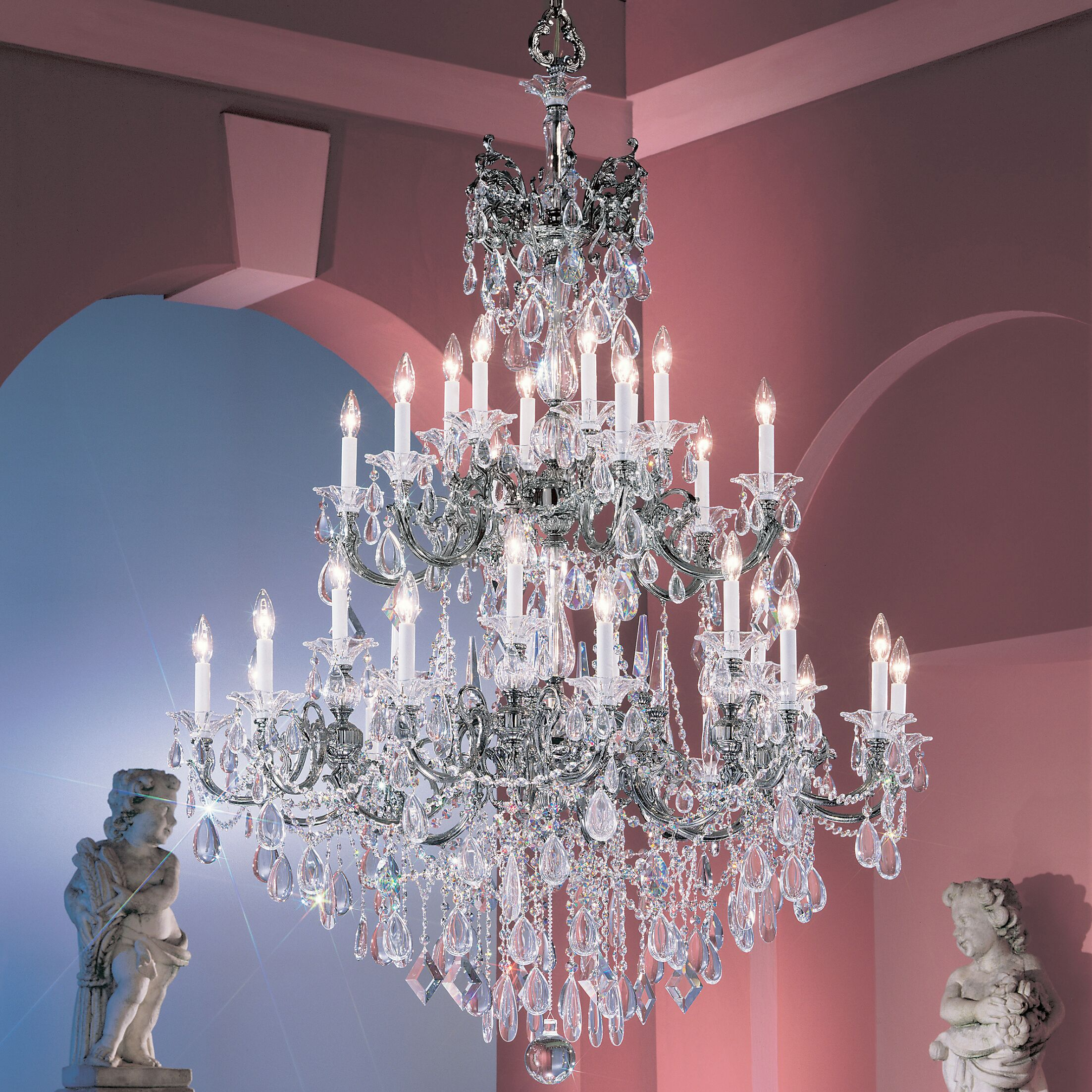 Via Venteo 30-Light Candle Style Chandelier Crystal Type: Crystalique Golden Teak, Finish: Silverstone