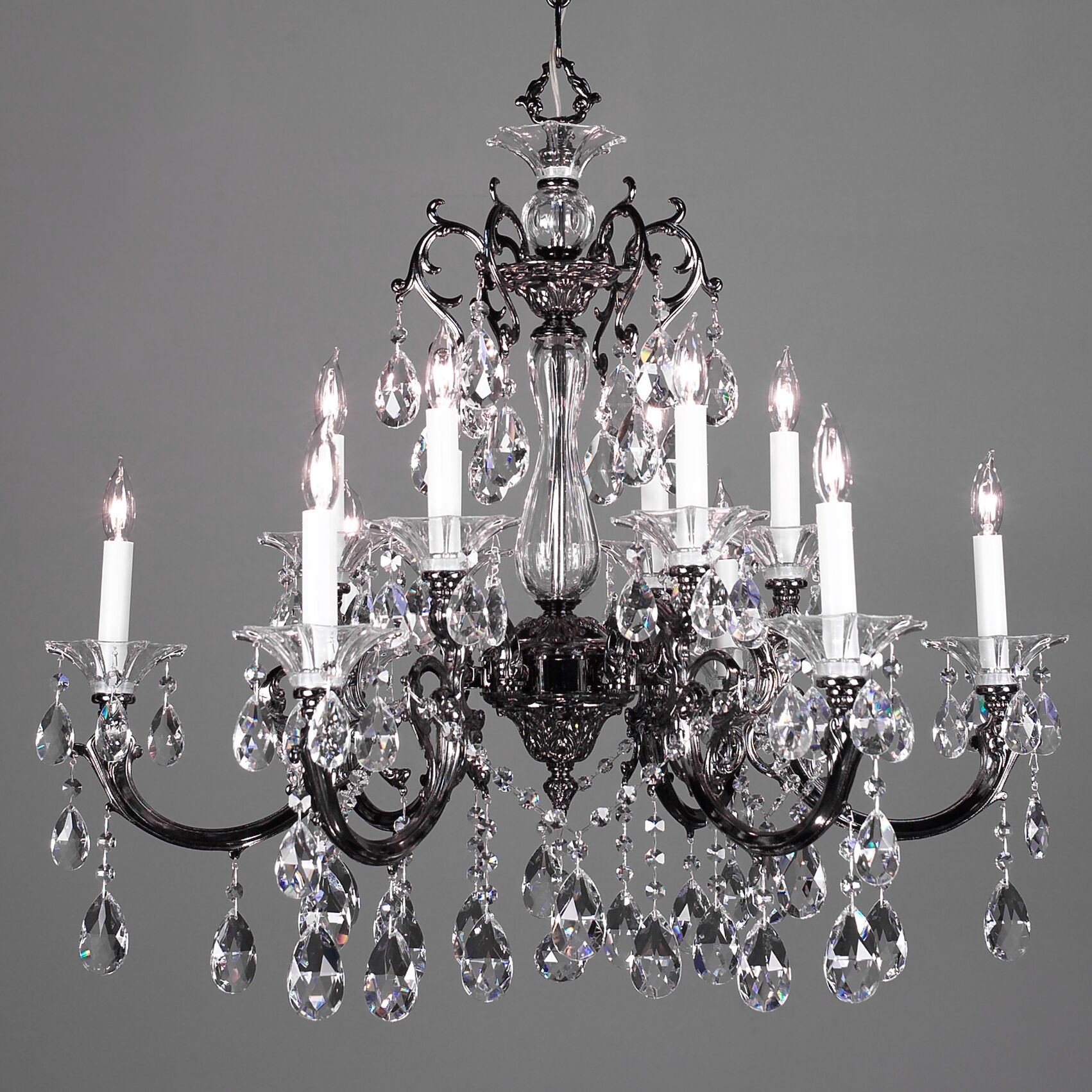 Via Lombardi 12-Light Candle Style Chandelier Crystal Type: Crystalique Golden Teak, Finish: Silverstone