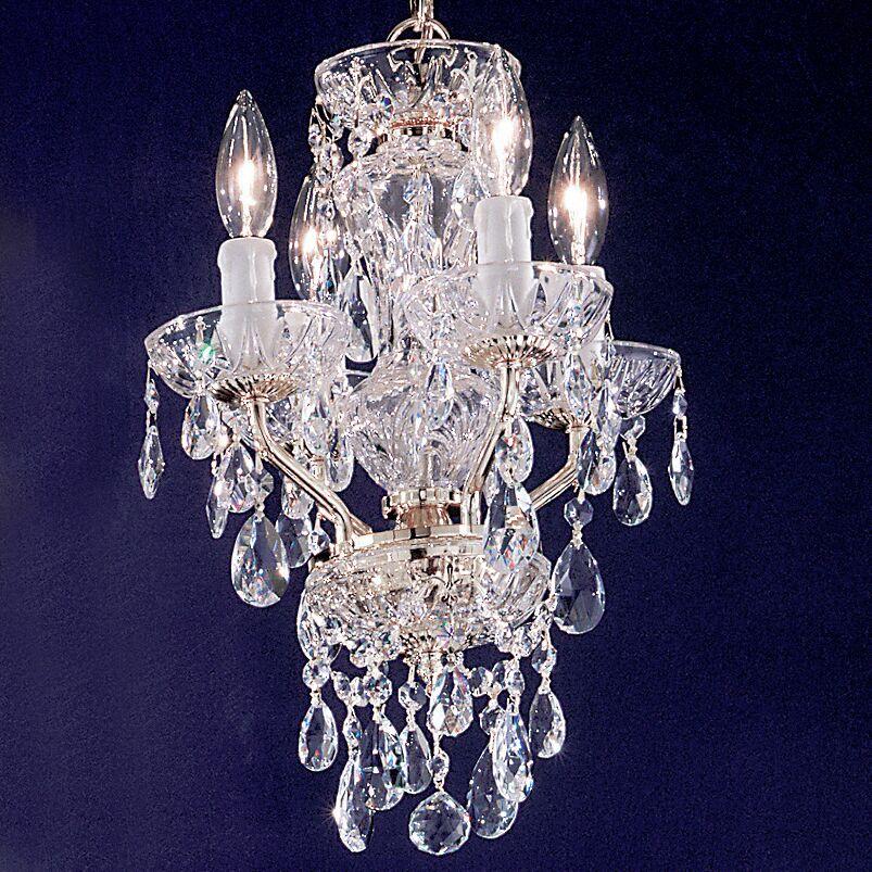 Letitia 4-Light Candle Style Chandelier Crystal Type: Swarovski Elements, Finish: English Bronze