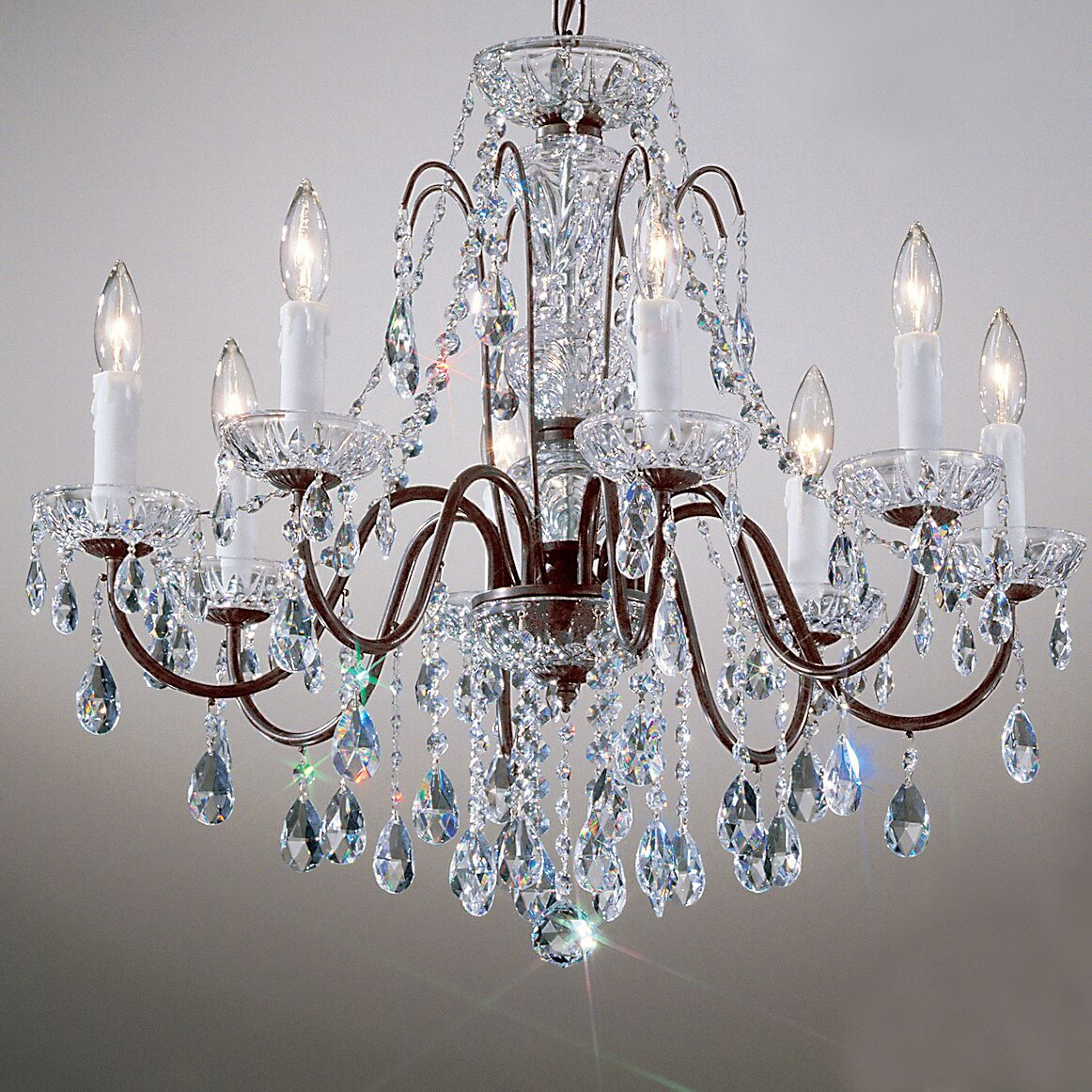 Letitia 8-Light Chain Shaded Candle Style Chandelier Crystal Type: Swarovski Spectra, Finish: Gold Plated