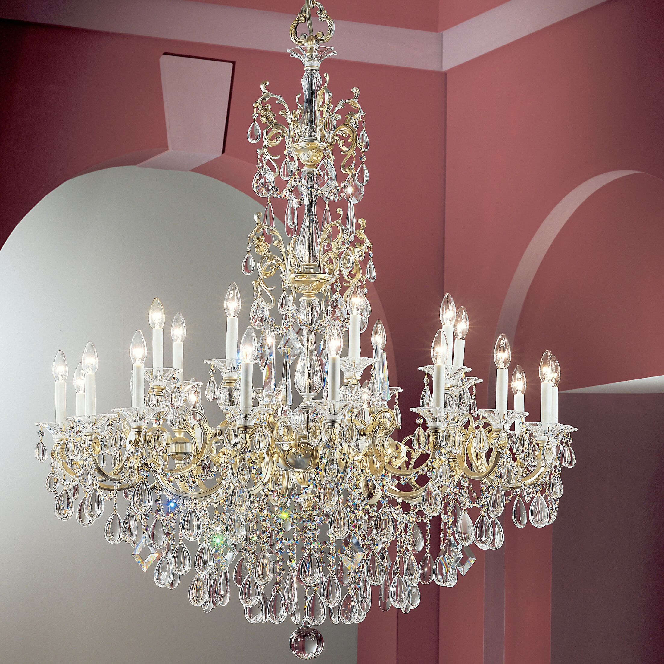 Via Venteo 24-Light Candle Style Chandelier Crystal Type: Crystalique, Finish: 24k Gold Plate