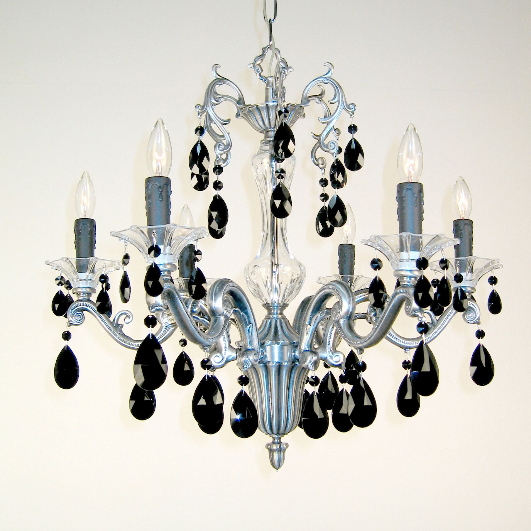 Via Firenze 6-Light Candle Style Chandelier Crystal Type: Crystalique Black, Finish: Millenium Silver