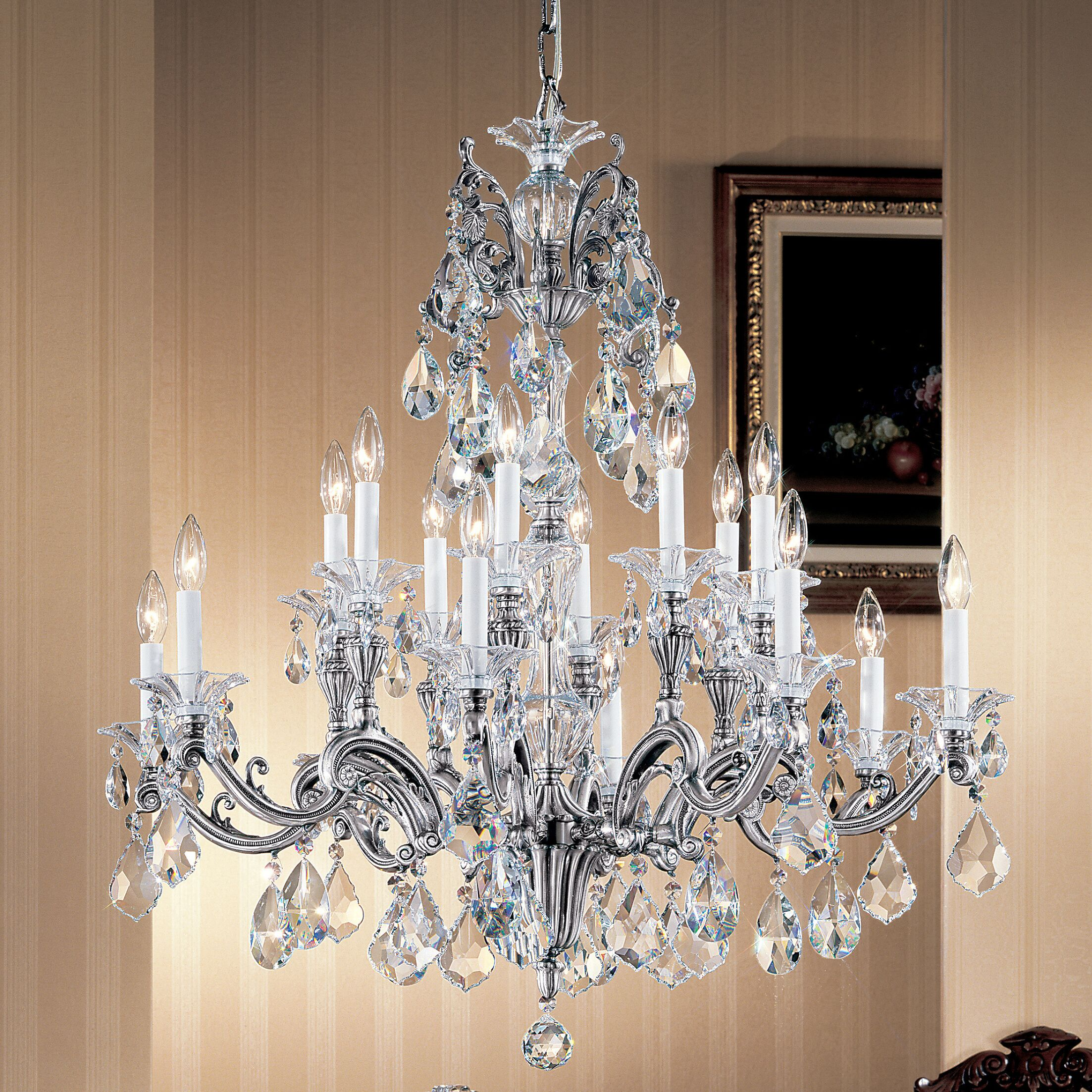 Via Firenze 16-Light Candle Style Chandelier Finish: Roman Bronze, Crystal Type: Crystalique