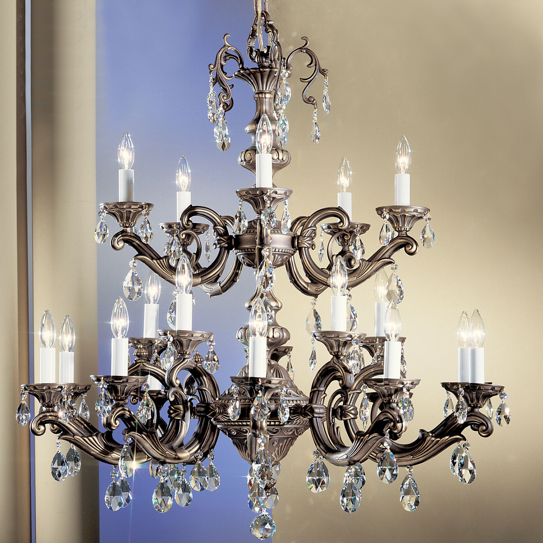Princeton II 20-Light Candle Style Chandelier Finish: Roman Bronze, Crystal Type: Crystalique